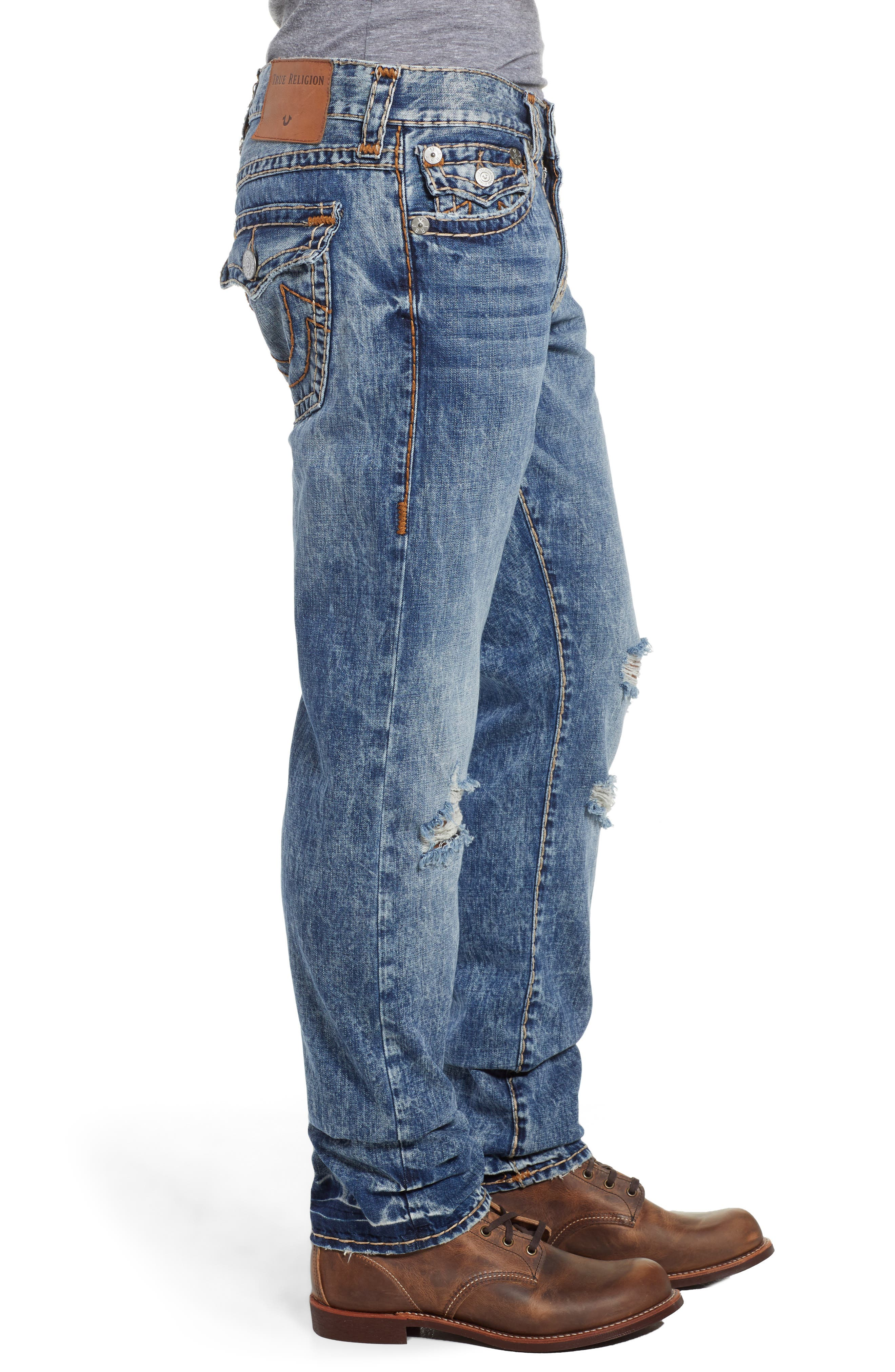 Geno Straight Leg Jeans,                             Alternate thumbnail 3, color,                             WORN BLUE BLUFF