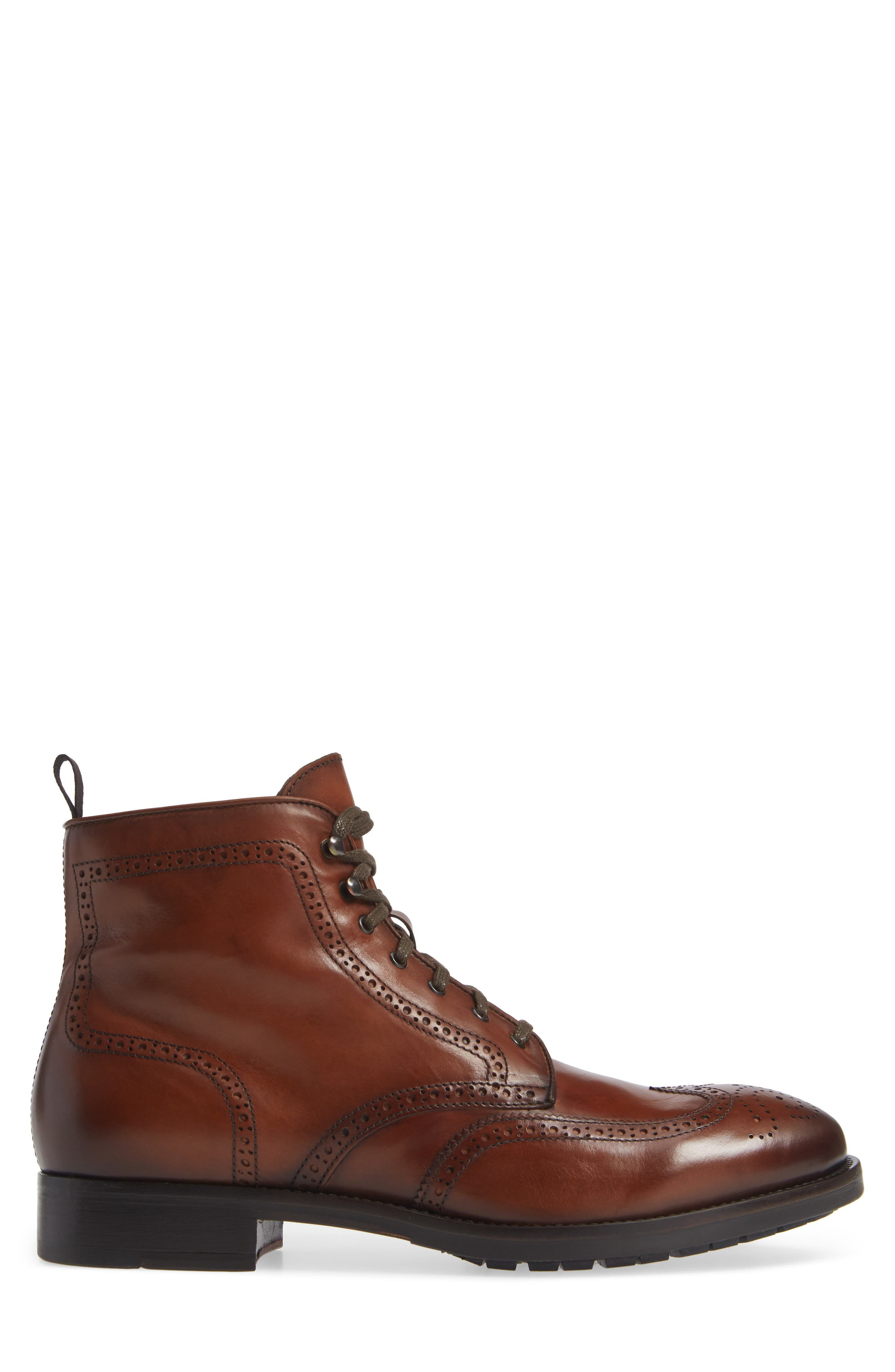 Auckland Wingtip Boot,                             Alternate thumbnail 3, color,                             BROWN LEATHER