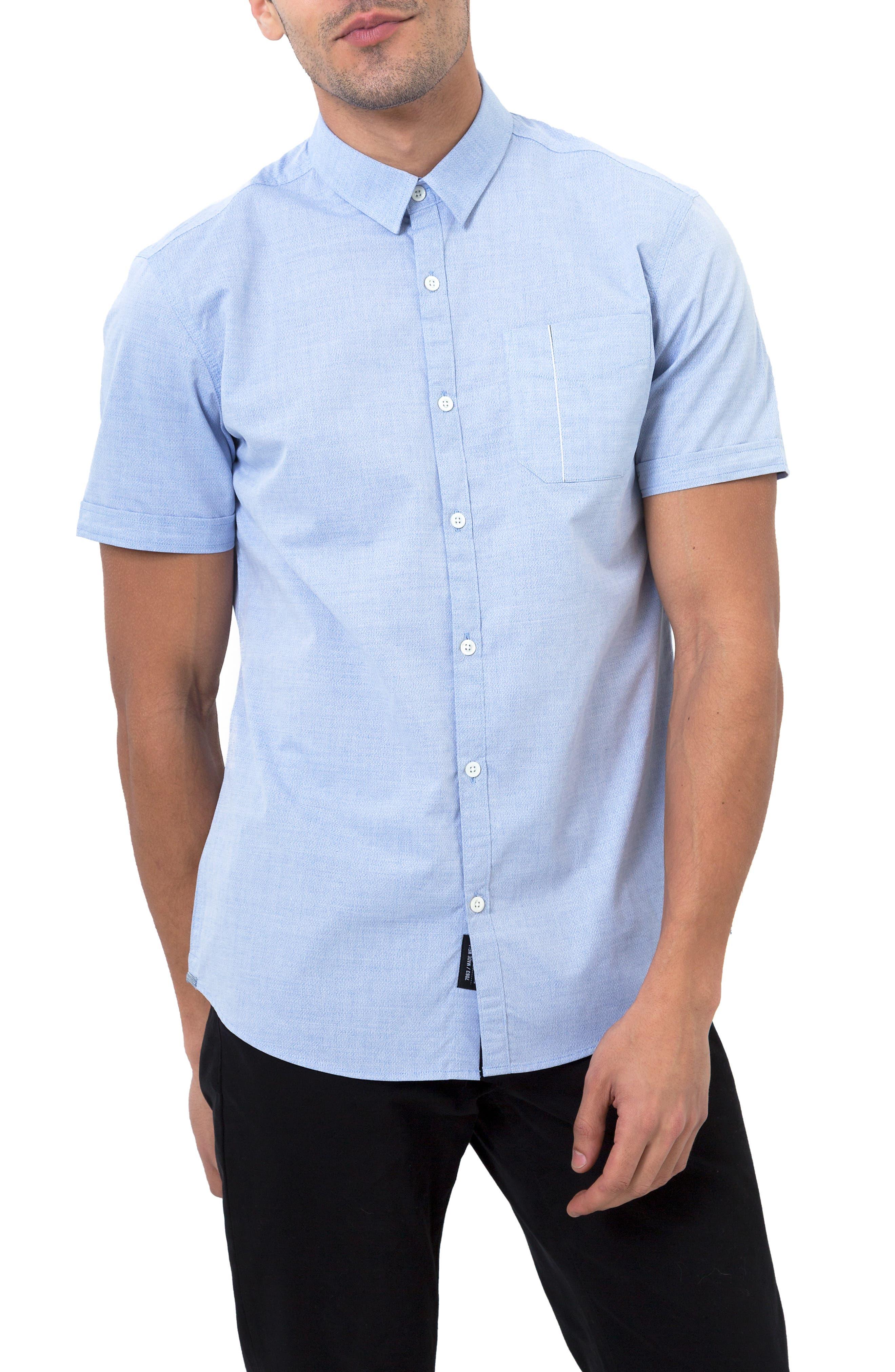 Smile Away Trim Fit Sport Shirt,                         Main,                         color, LIGHT BLUE