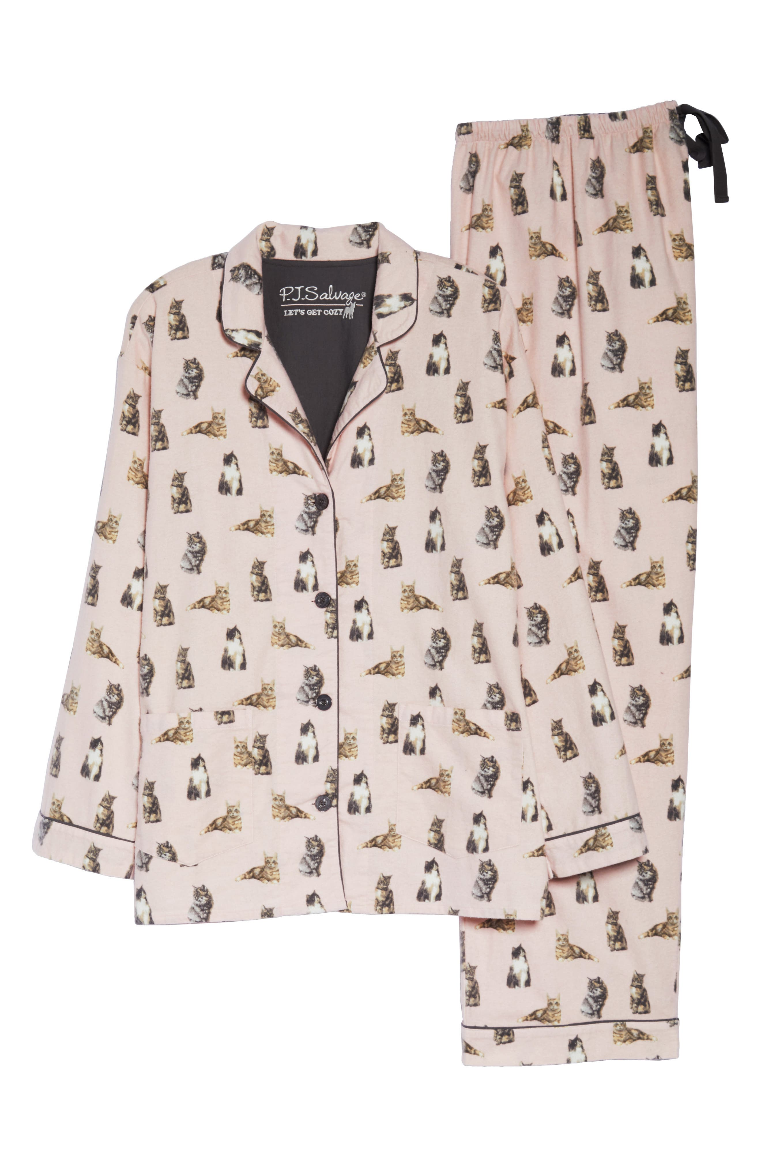 PJ SALVAGE,                             Print Flannel Pajamas,                             Alternate thumbnail 6, color,                             650