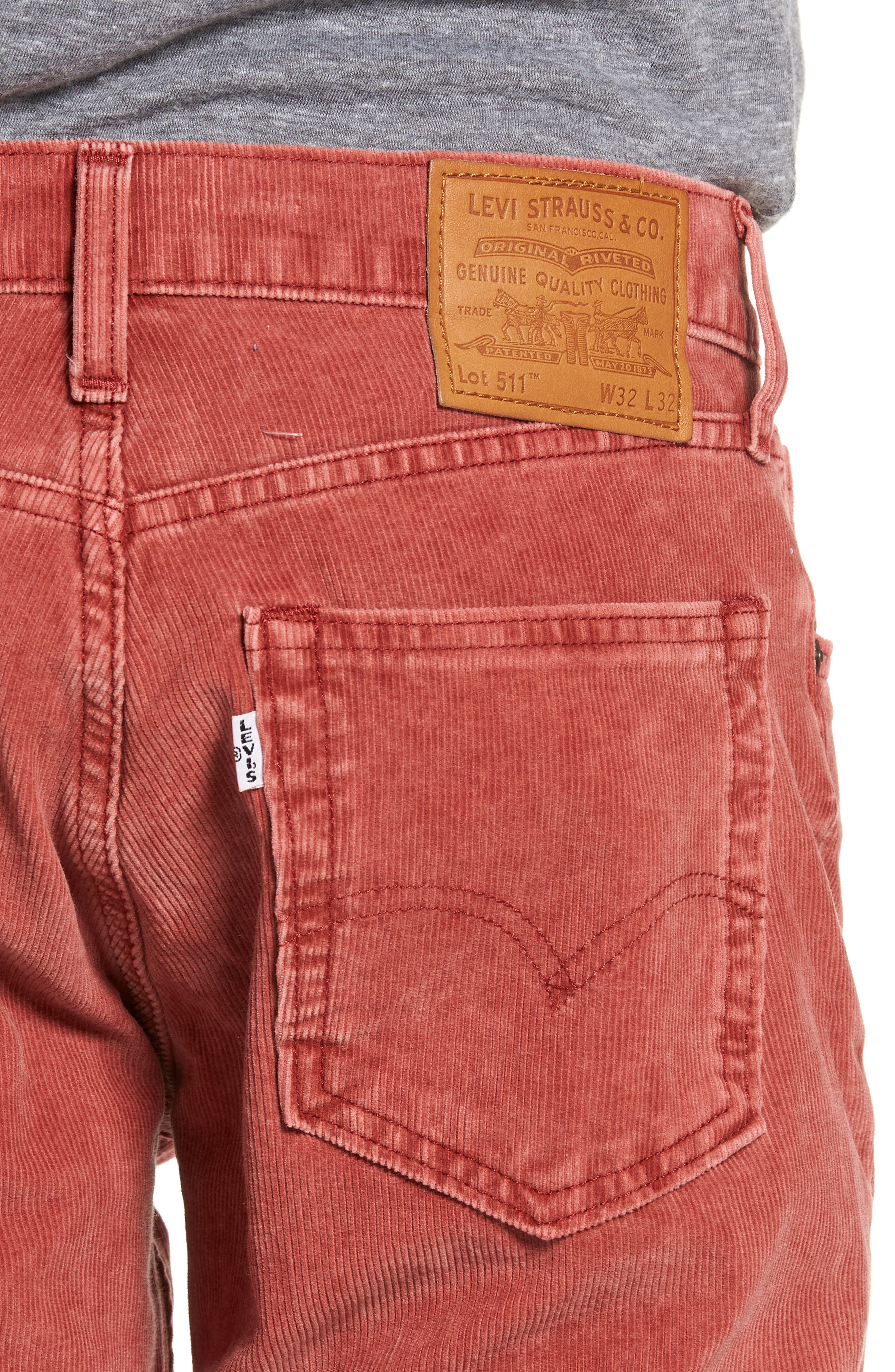 511<sup>™</sup> Slim Fit Corduroy Pants,                             Alternate thumbnail 4, color,                             RALLY RED