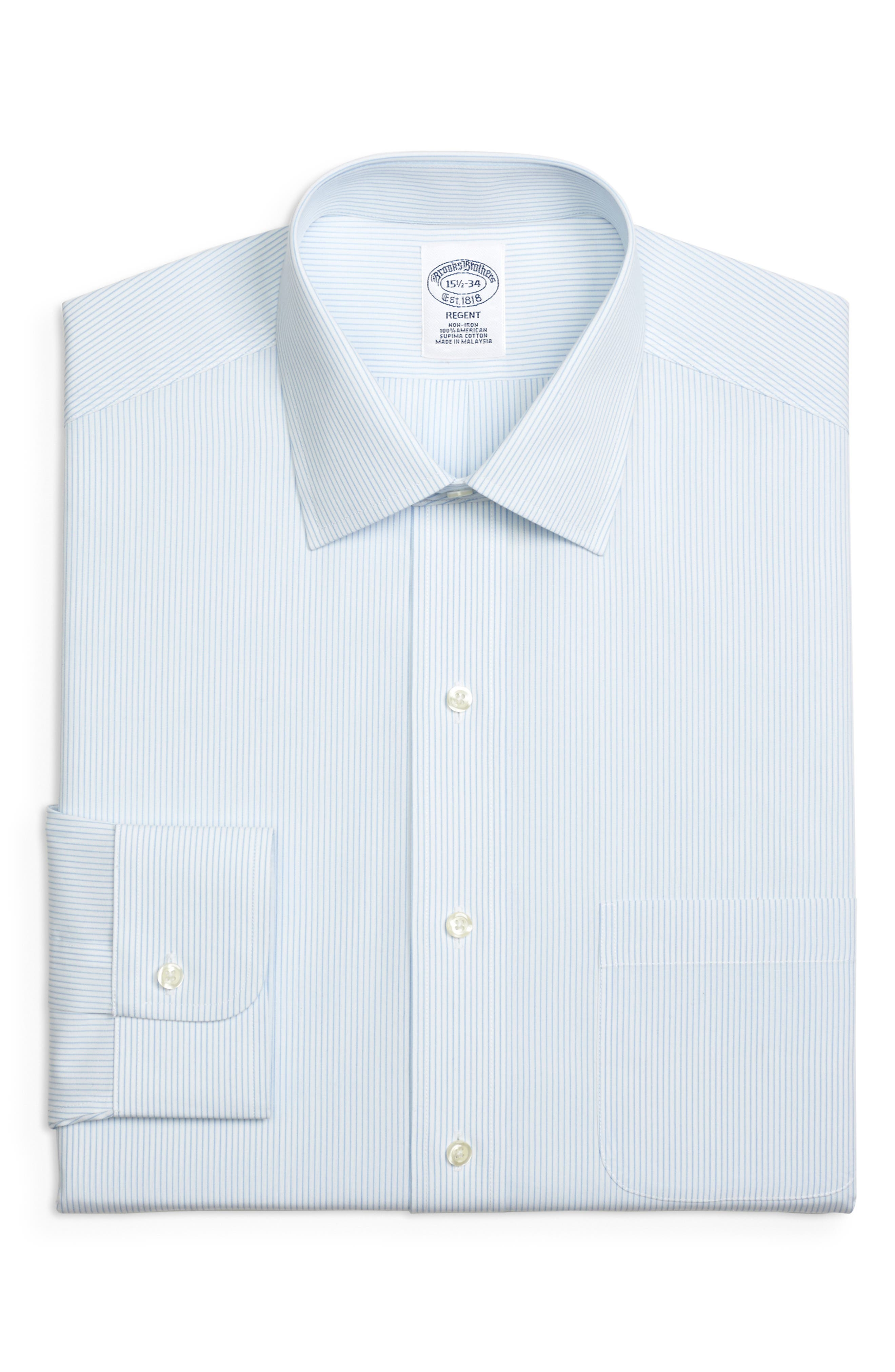 Regular Fit Stripe Dress Shirt,                         Main,                         color, LIGHT/ PASTEL BLUE