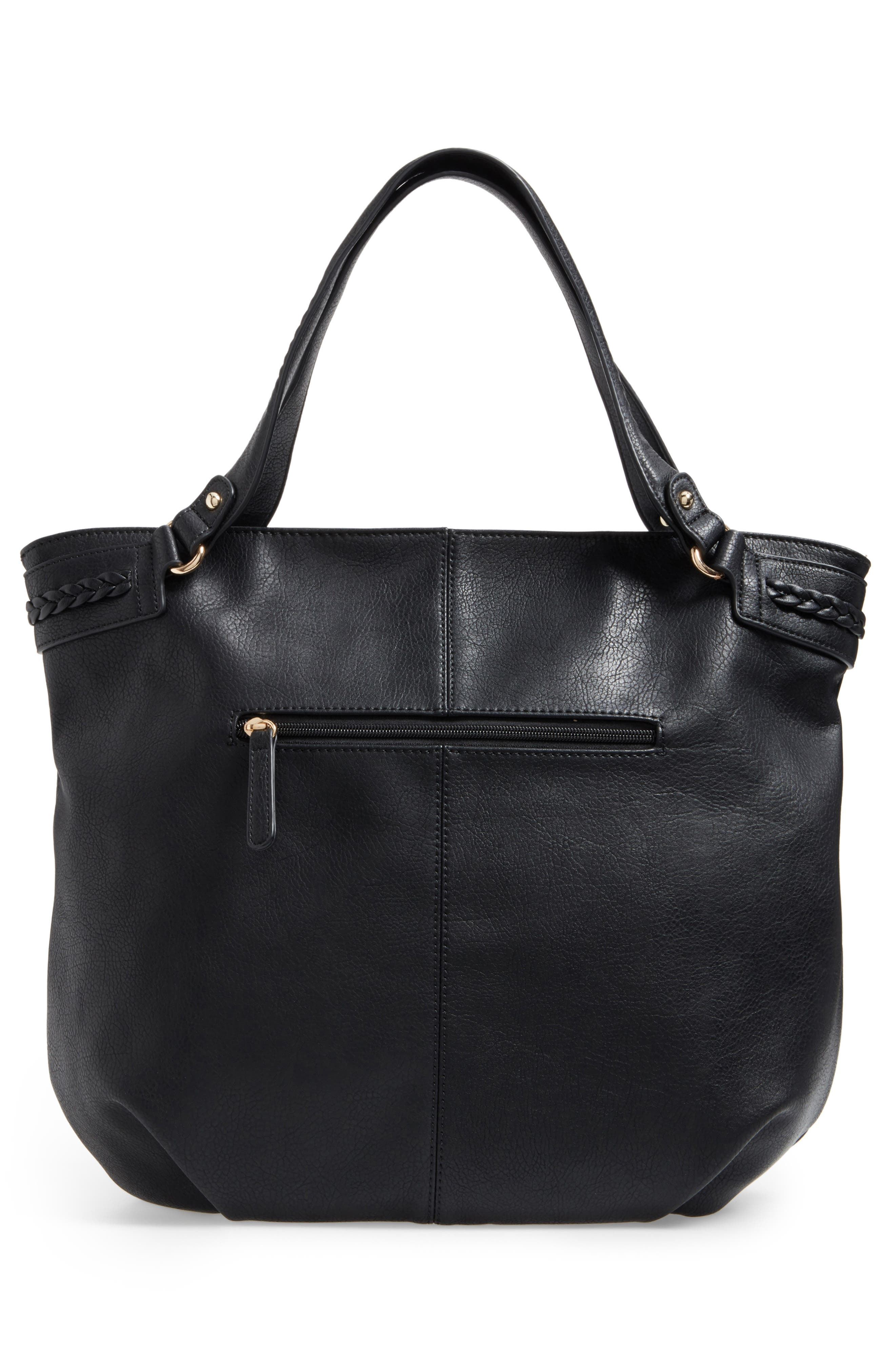 Tara Braided Faux Leather Hobo,                             Alternate thumbnail 3, color,                             001