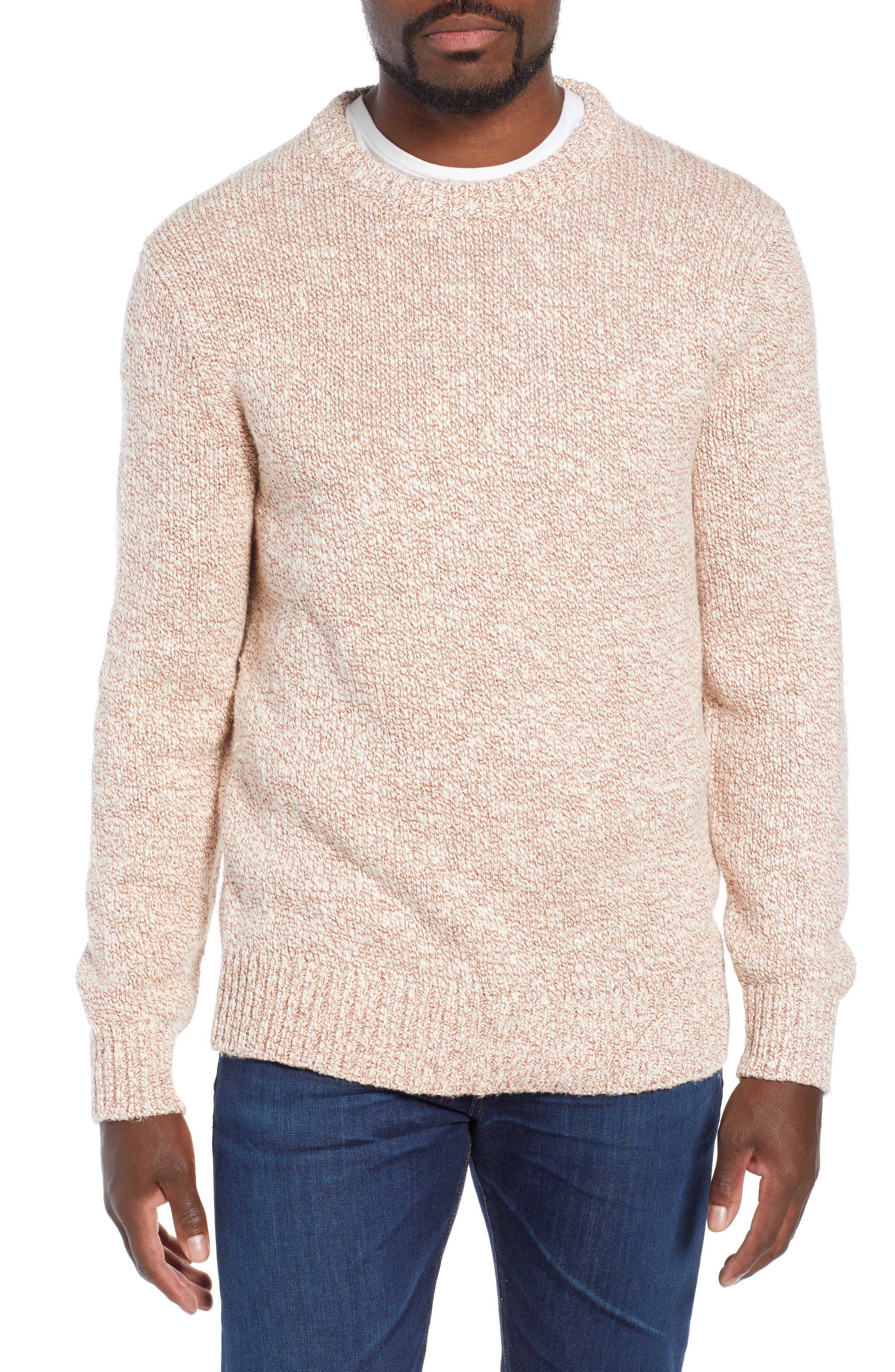 Wallace & Barnes Crewneck Marled Cotton Sweater,                         Main,                         color, TERRACOTTA