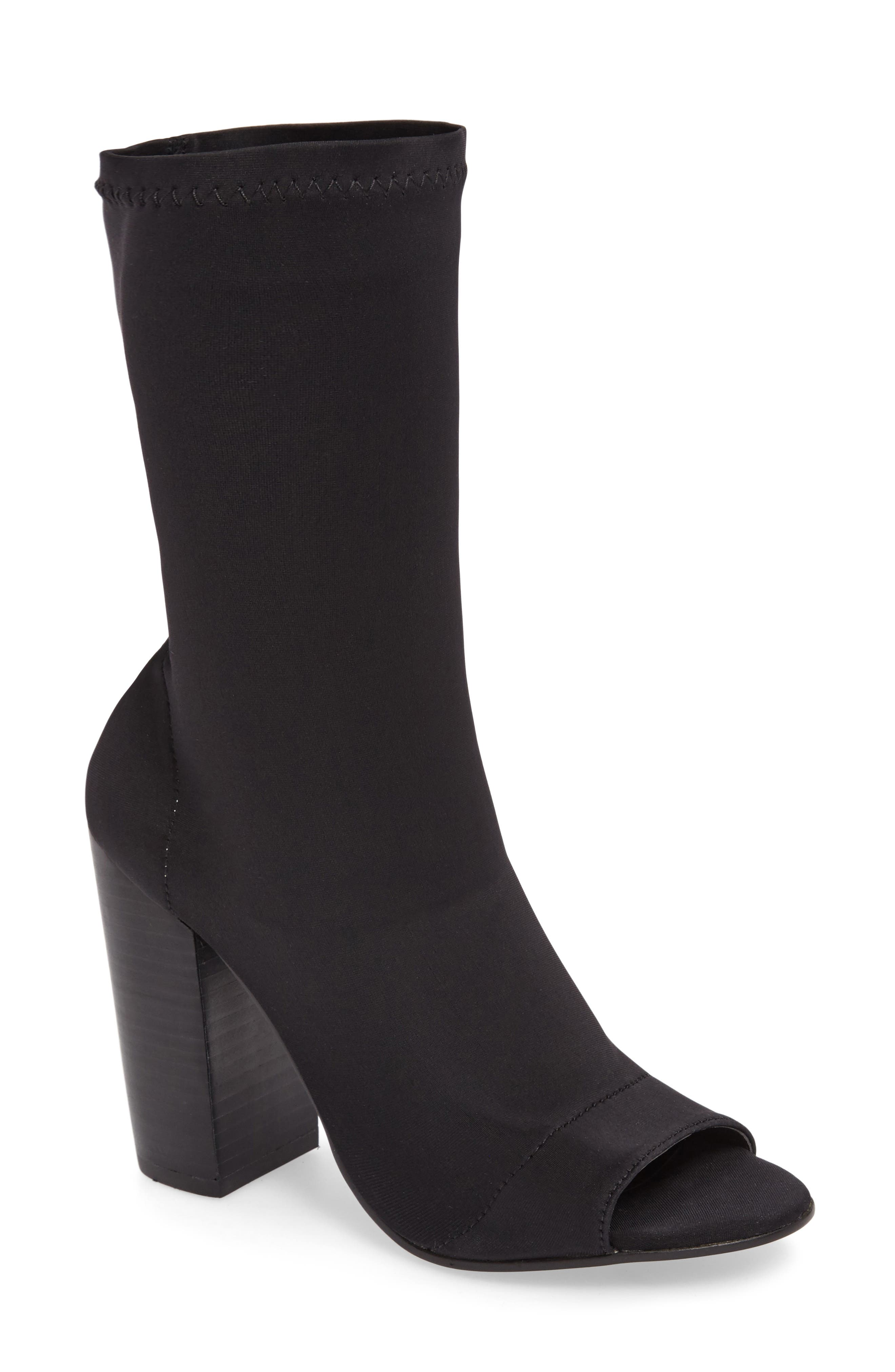 Malo Open Toe Stretch Bootie,                             Main thumbnail 1, color,                             001