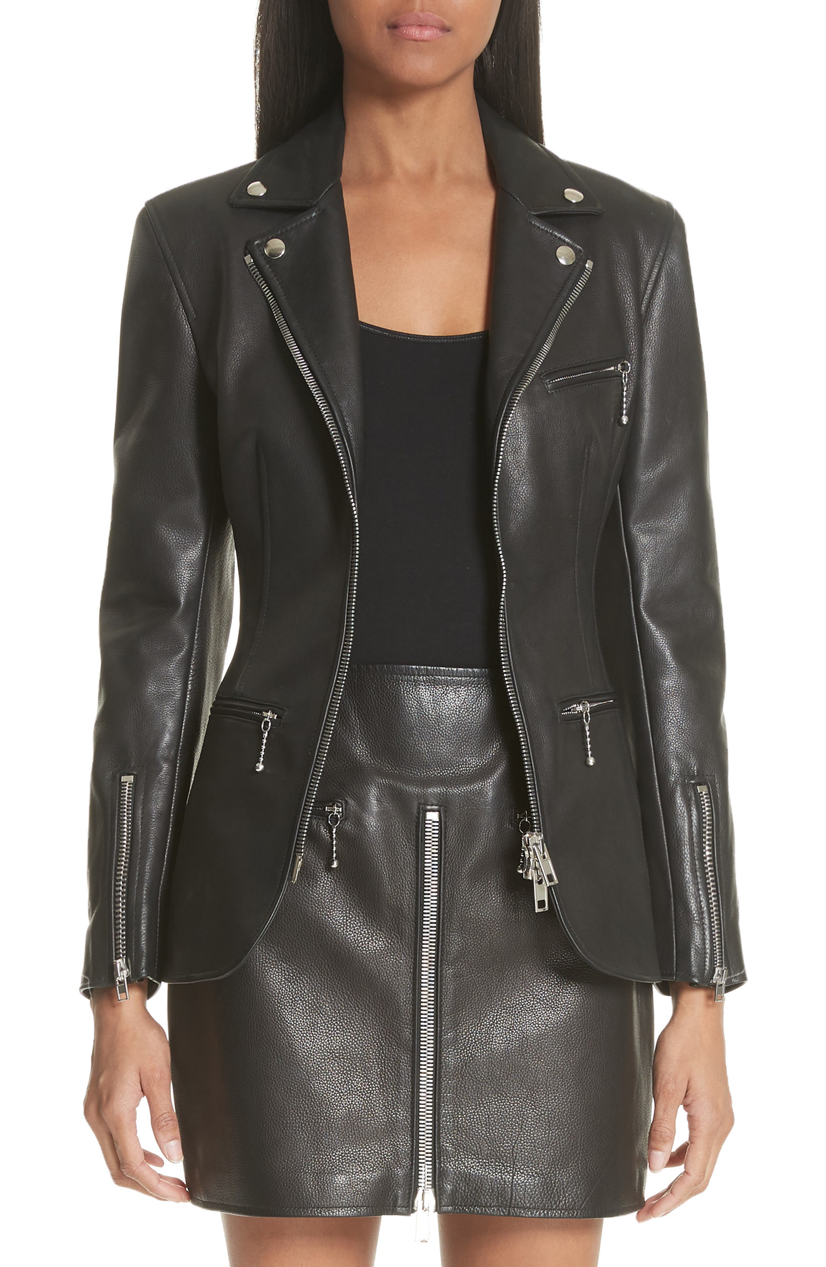 Zip Front Leather Blazer,                         Main,                         color, BLACK