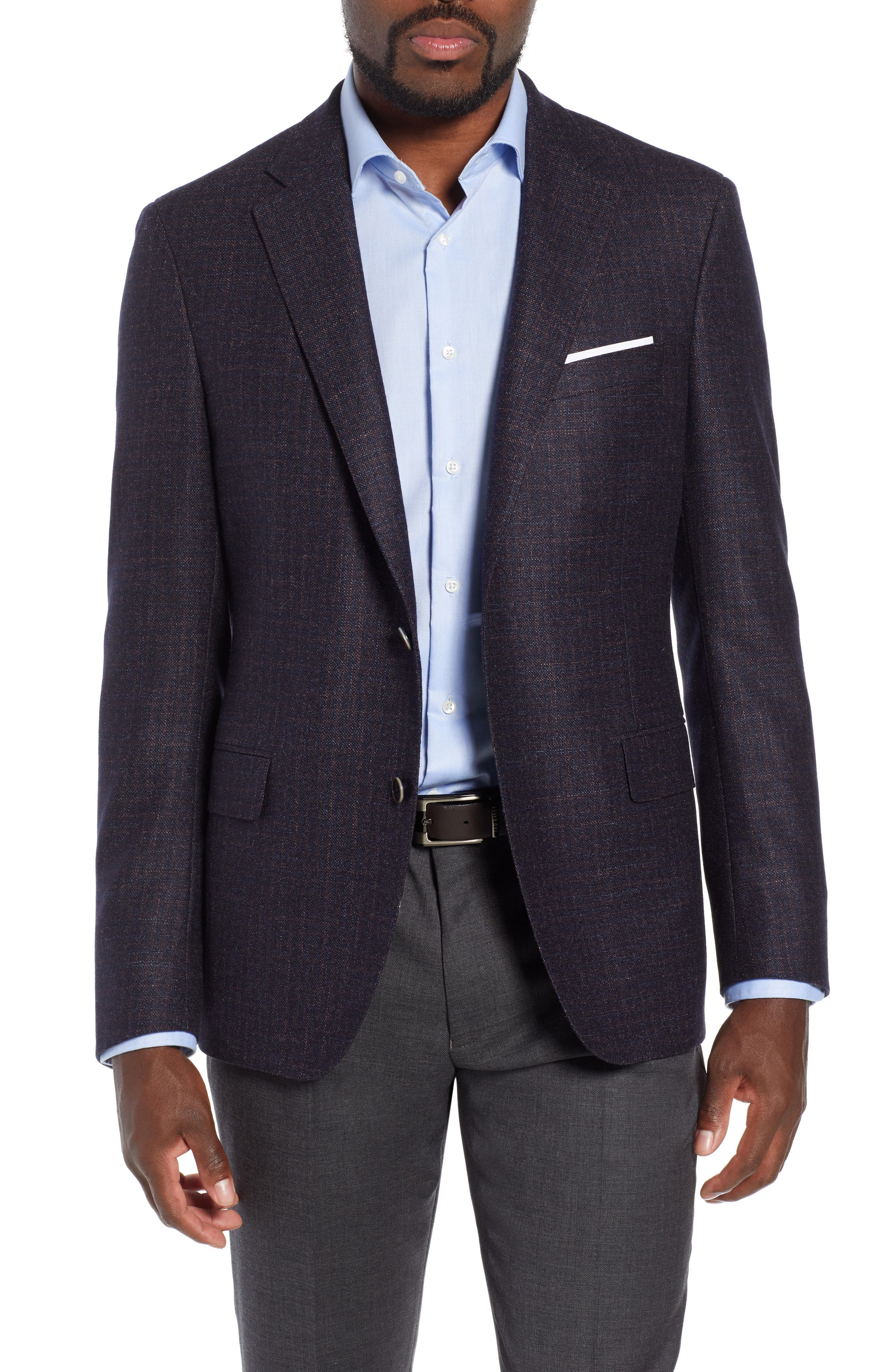 Classic Fit Wool Blazer,                             Main thumbnail 1, color,                             NAVY/ BERRY