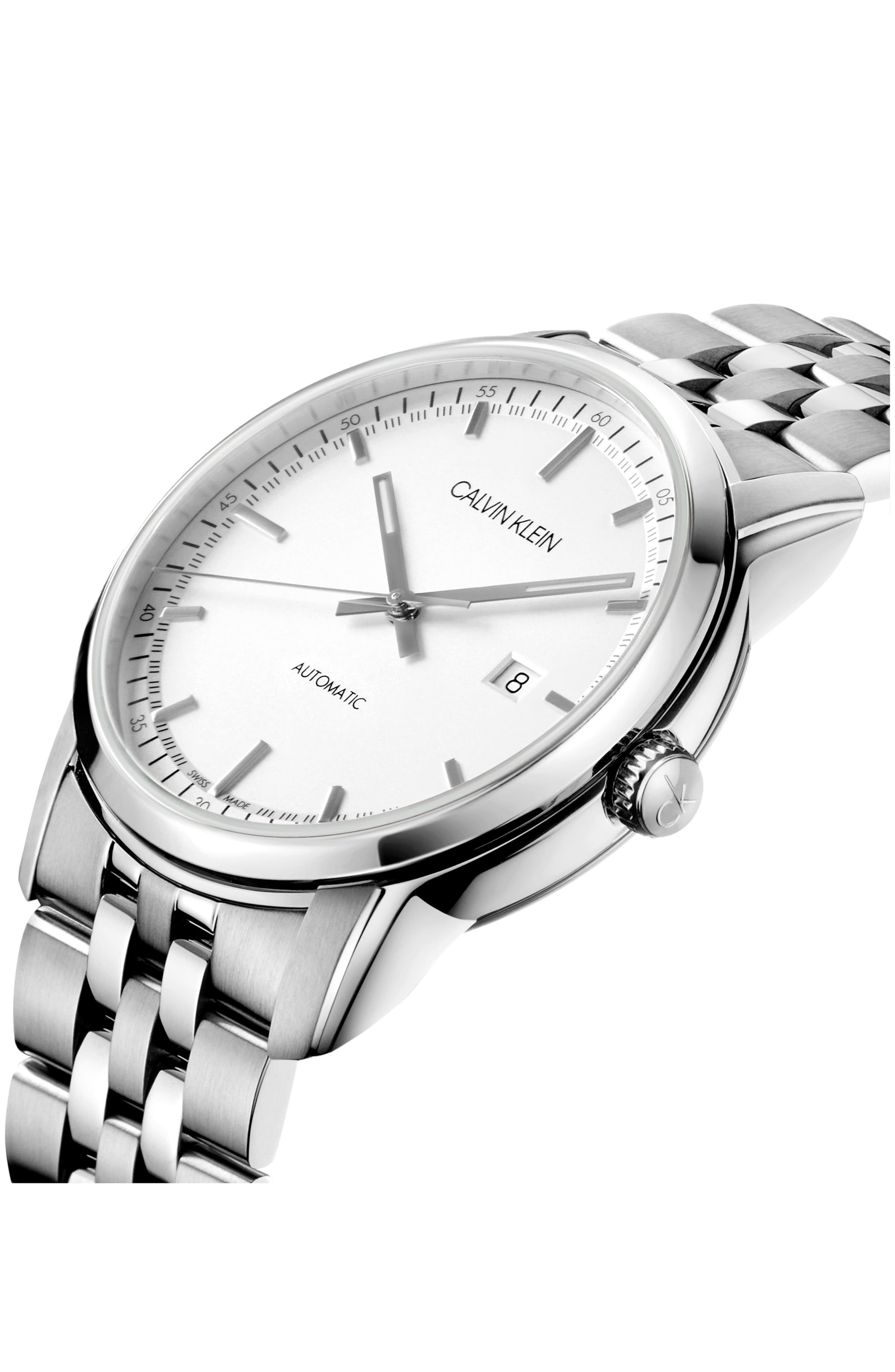 Infinite Too Automatic Bracelet Watch, 42mm,                             Alternate thumbnail 4, color,                             SILVER