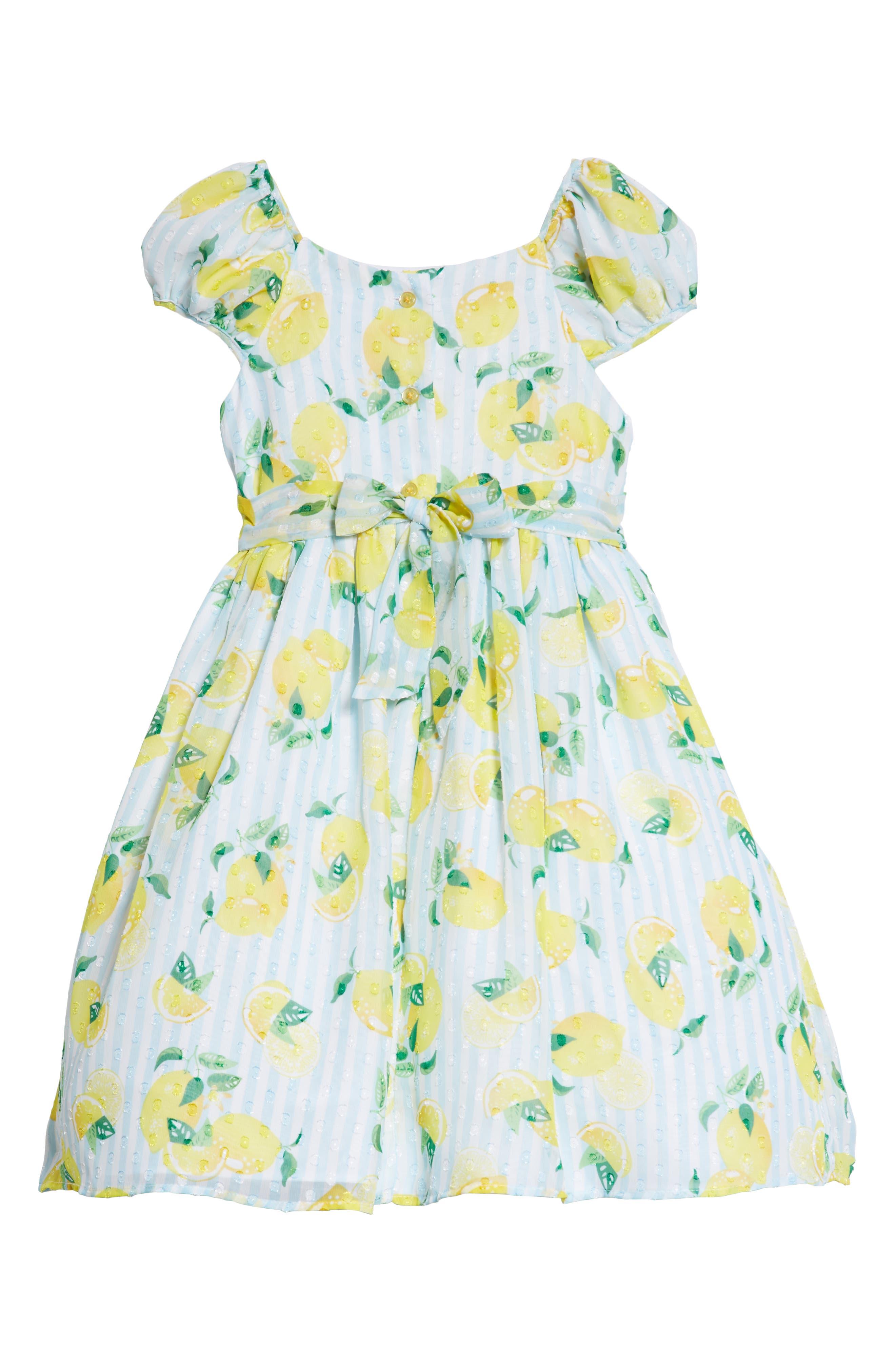 Lemon Print Dress,                             Alternate thumbnail 2, color,                             700