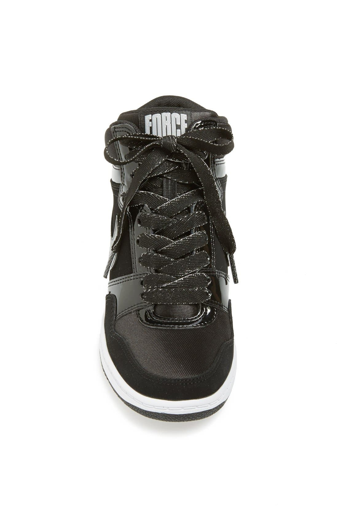 'Force Sky Hi' Wedge Sneaker,                             Alternate thumbnail 4, color,                             001