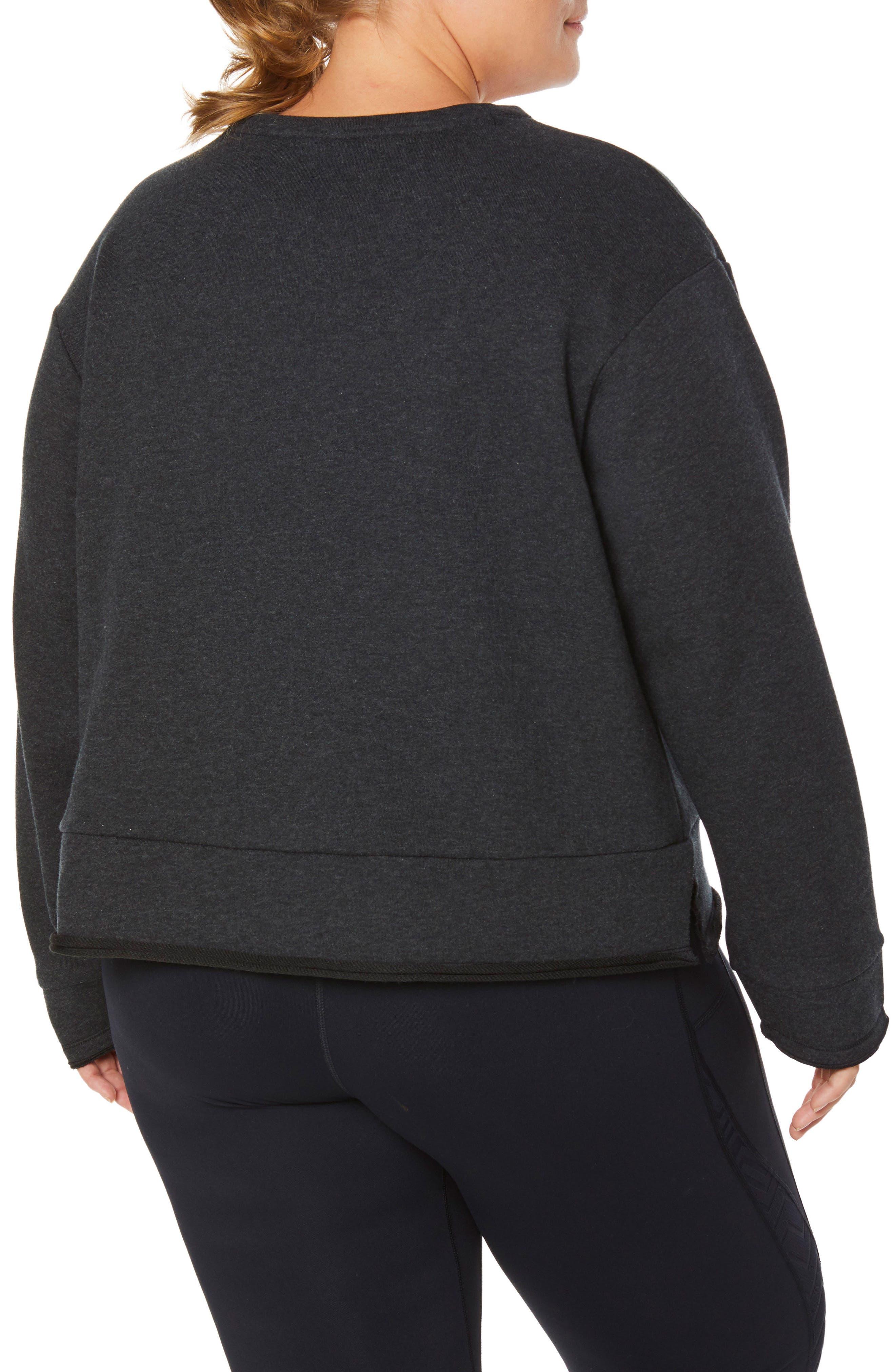 Shape Extended Day Sweatshirt,                             Alternate thumbnail 2, color,                             CHARCOAL BLACK
