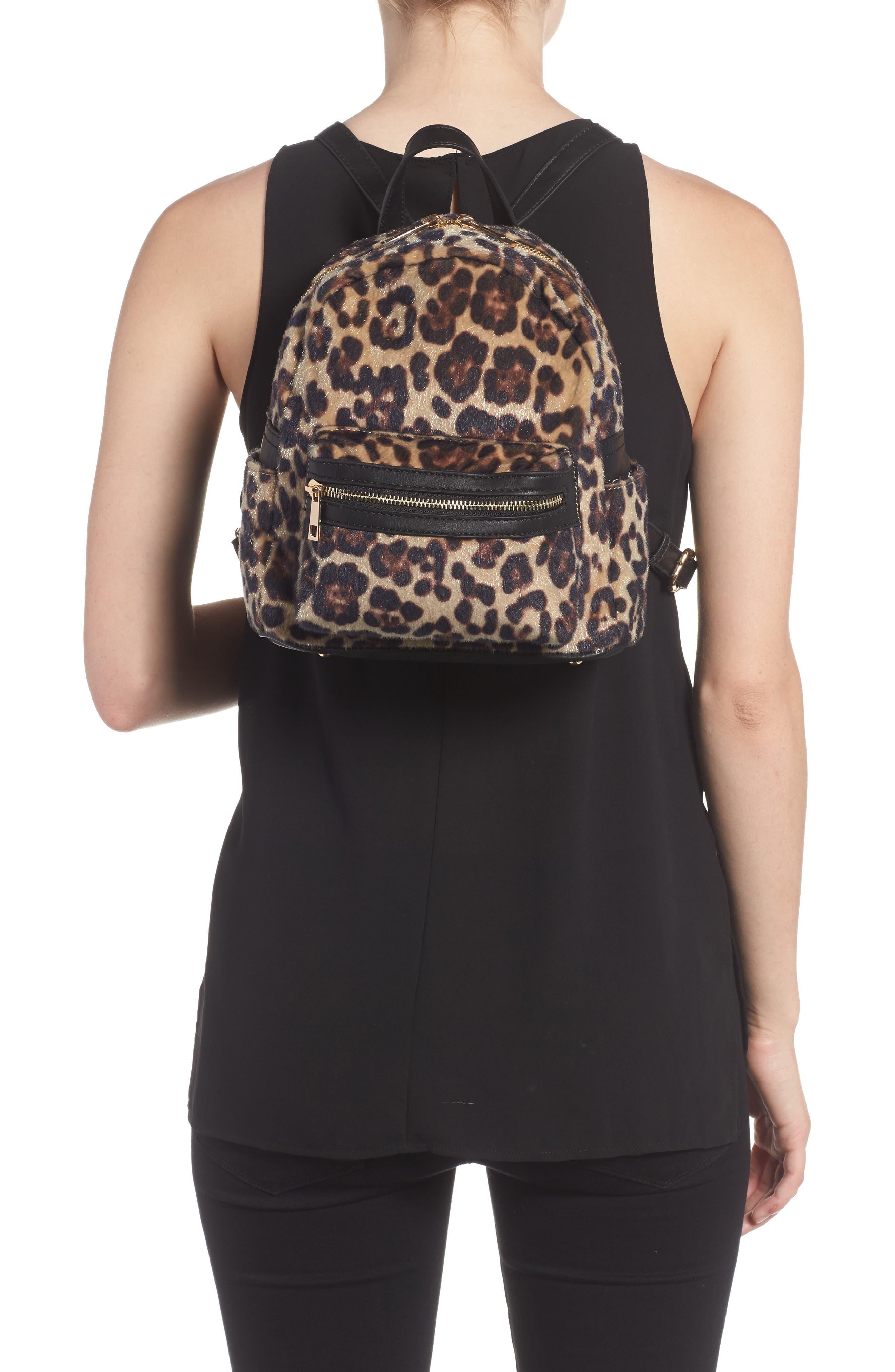 Leopard Print Faux Fur Backpack,                             Alternate thumbnail 2, color,                             200