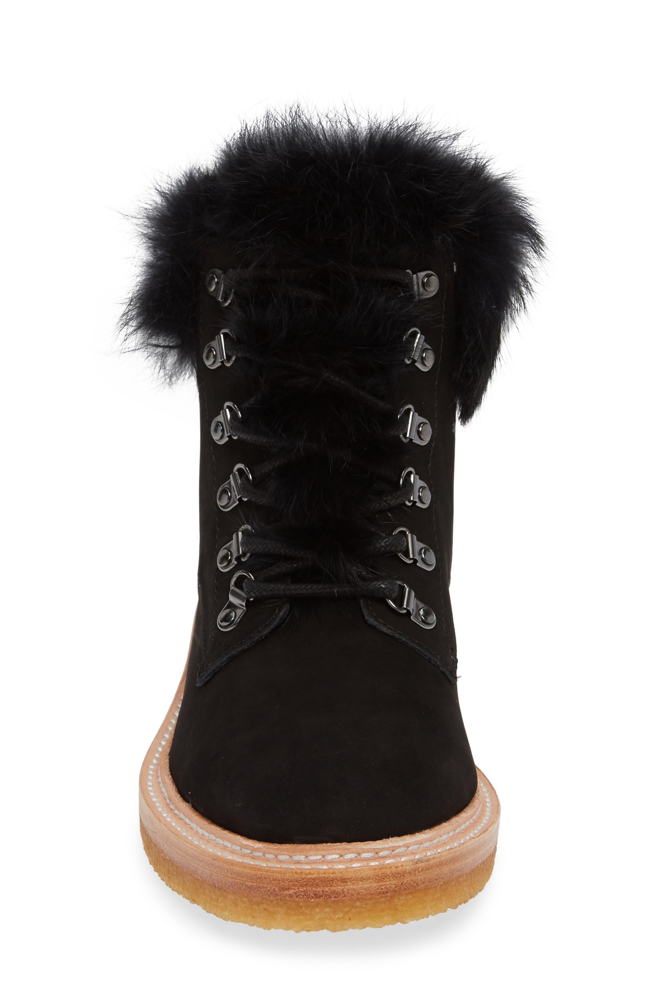 BOTKIER,                             Winter Genuine Rabbit Fur Trim Boot,                             Alternate thumbnail 4, color,                             BLACK SUEDE