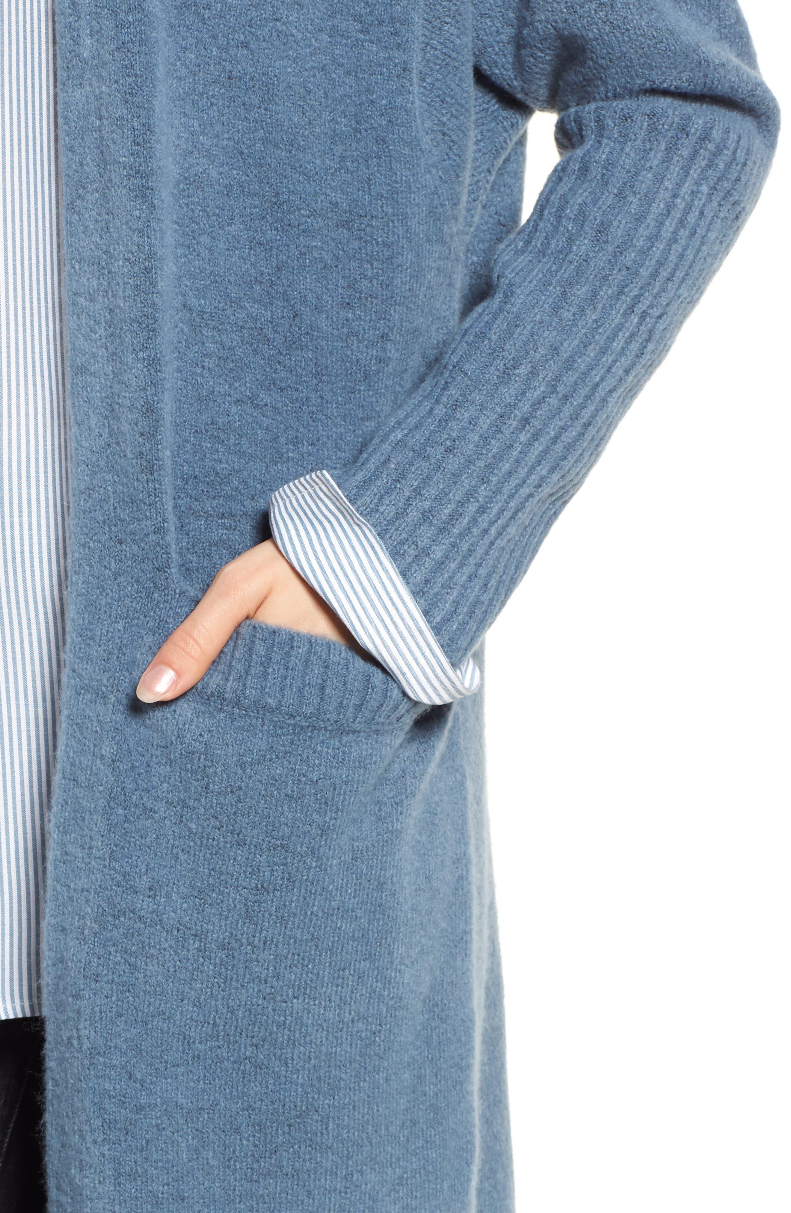 Long Knit Duster,                             Alternate thumbnail 4, color,                             BLUE CAPTAIN HEATHER