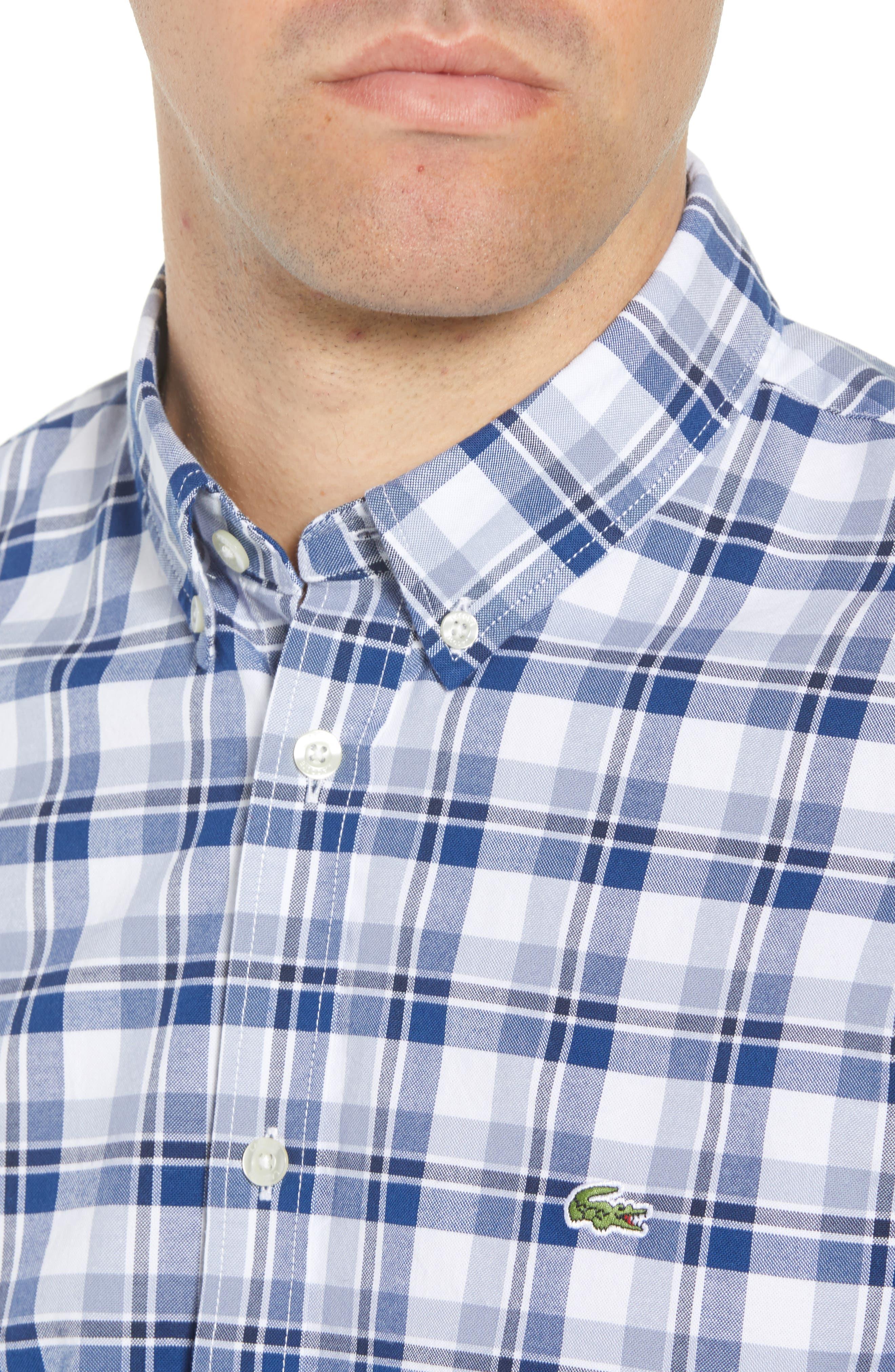 Slim Fit Check Oxford Sport Shirt,                             Alternate thumbnail 4, color,                             400