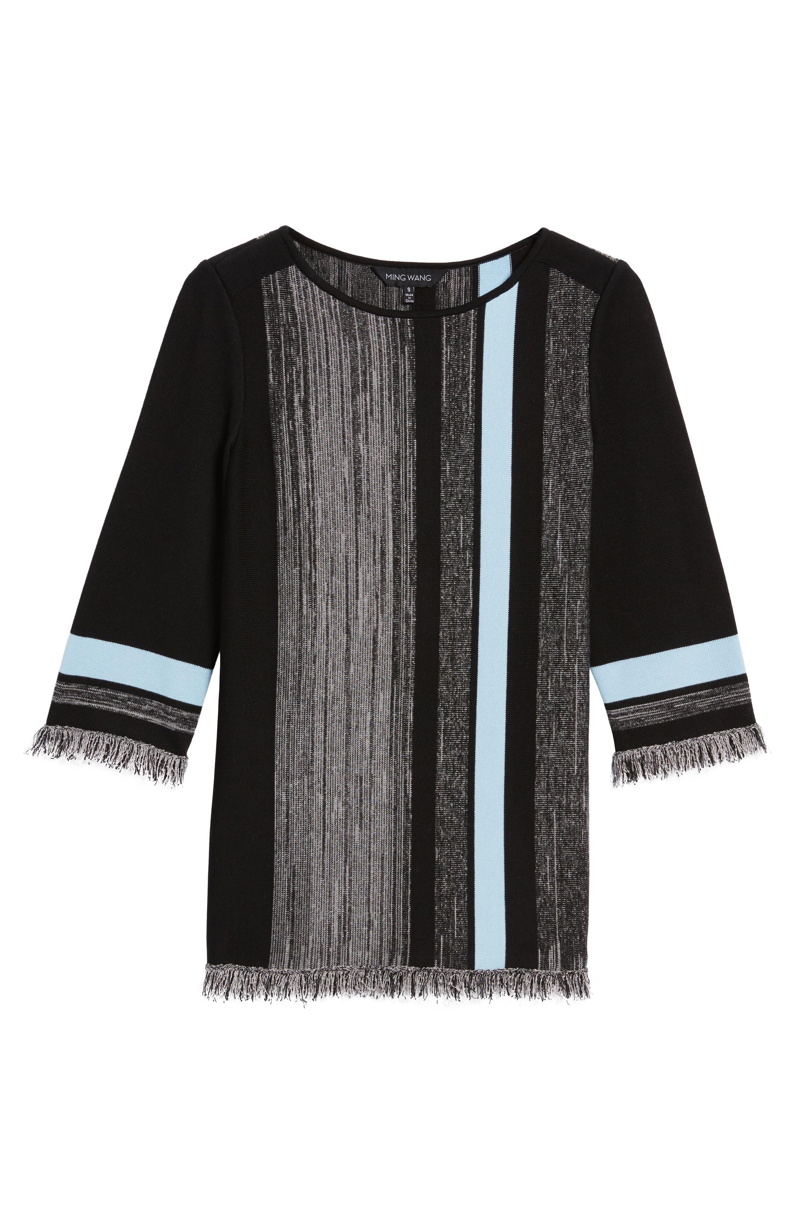 Fringe Trim Knit Tunic,                             Alternate thumbnail 6, color,                             021