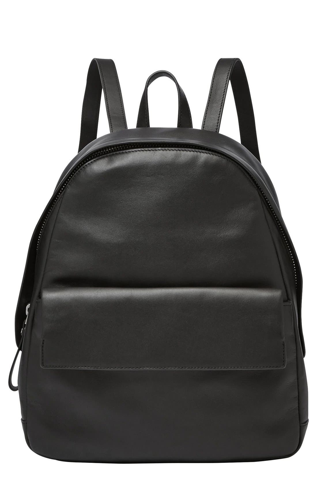 'Aften' Leather Backpack, Main, color, 001