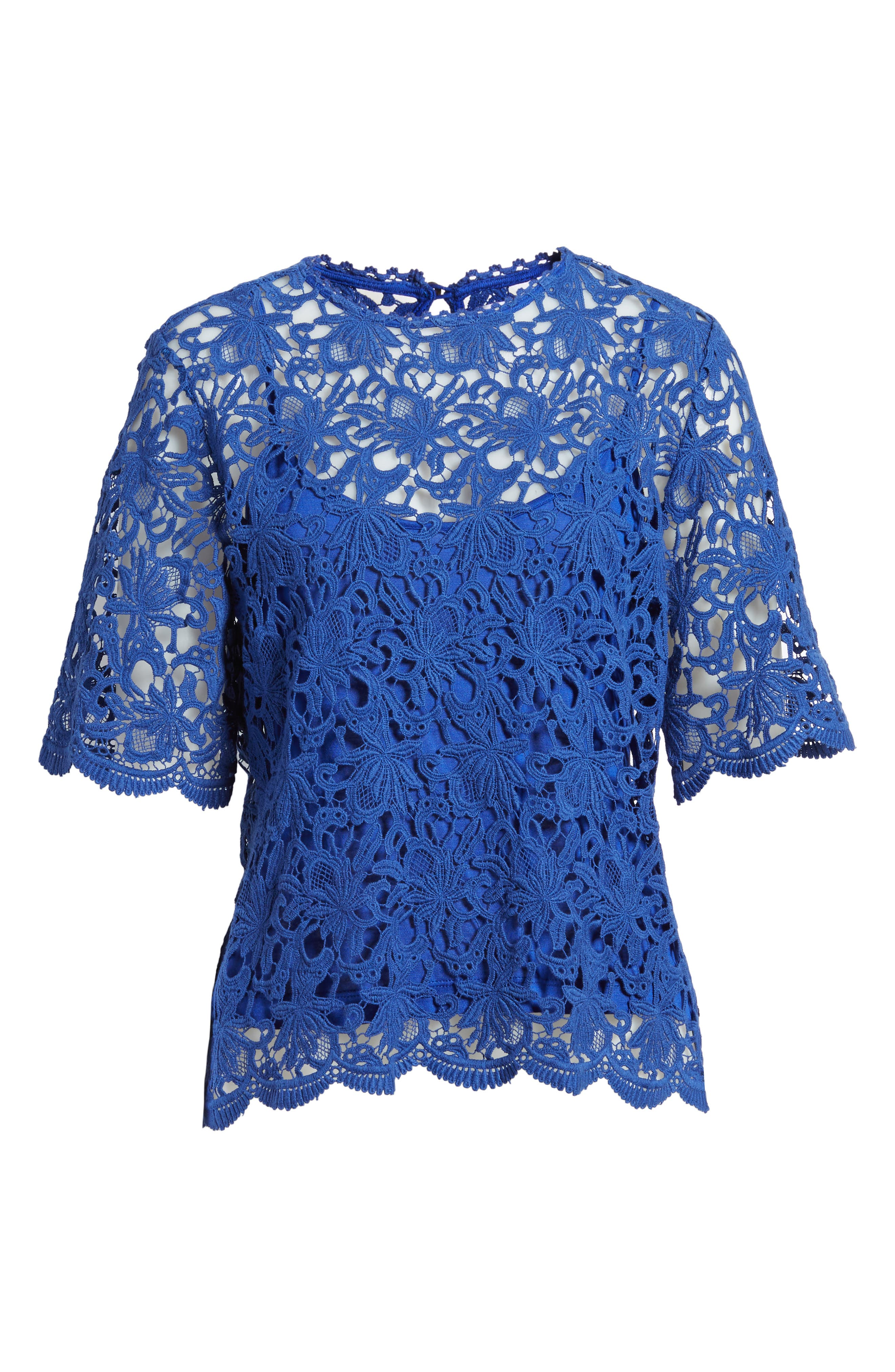 Lace Elbow Sleeve Blouse,                             Alternate thumbnail 12, color,