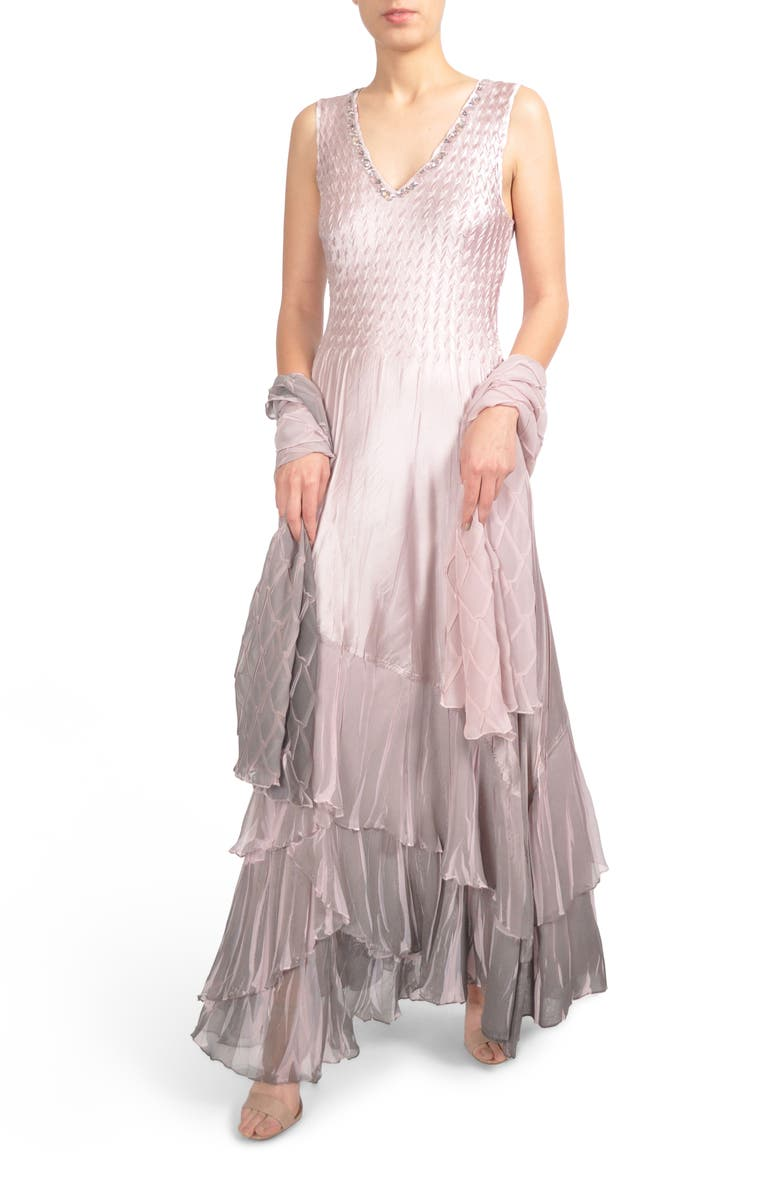 Komarov Beaded Charmeuse & Chiffon Gown with Wrap (Regular & Petite ...