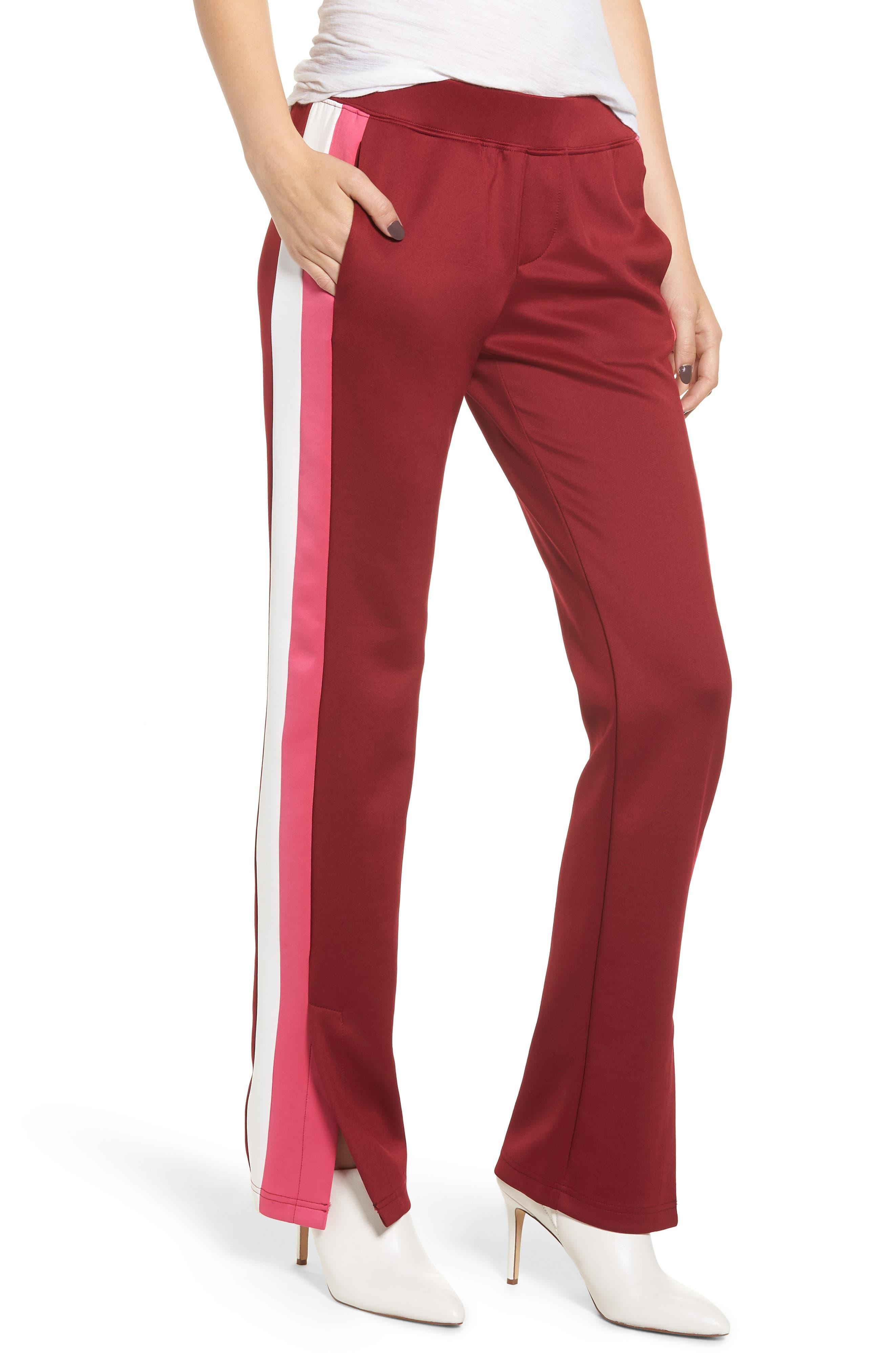 Microscuba Side Slit Track Pants,                         Main,                         color, BURGUNDY