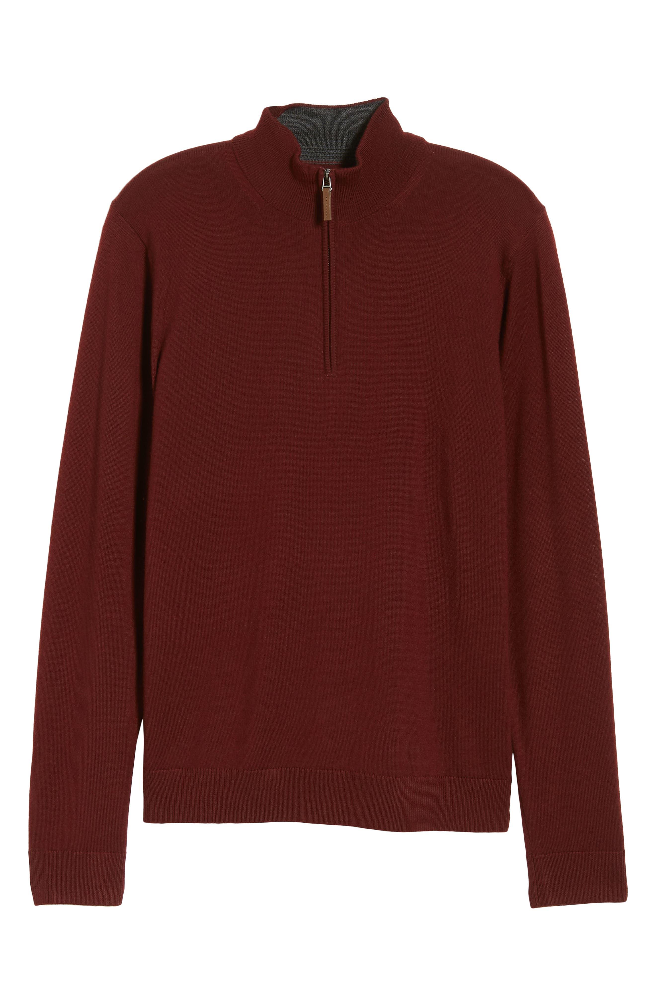 Quarter Zip Wool Pullover,                             Alternate thumbnail 6, color,                             BURGUNDY ROYALE