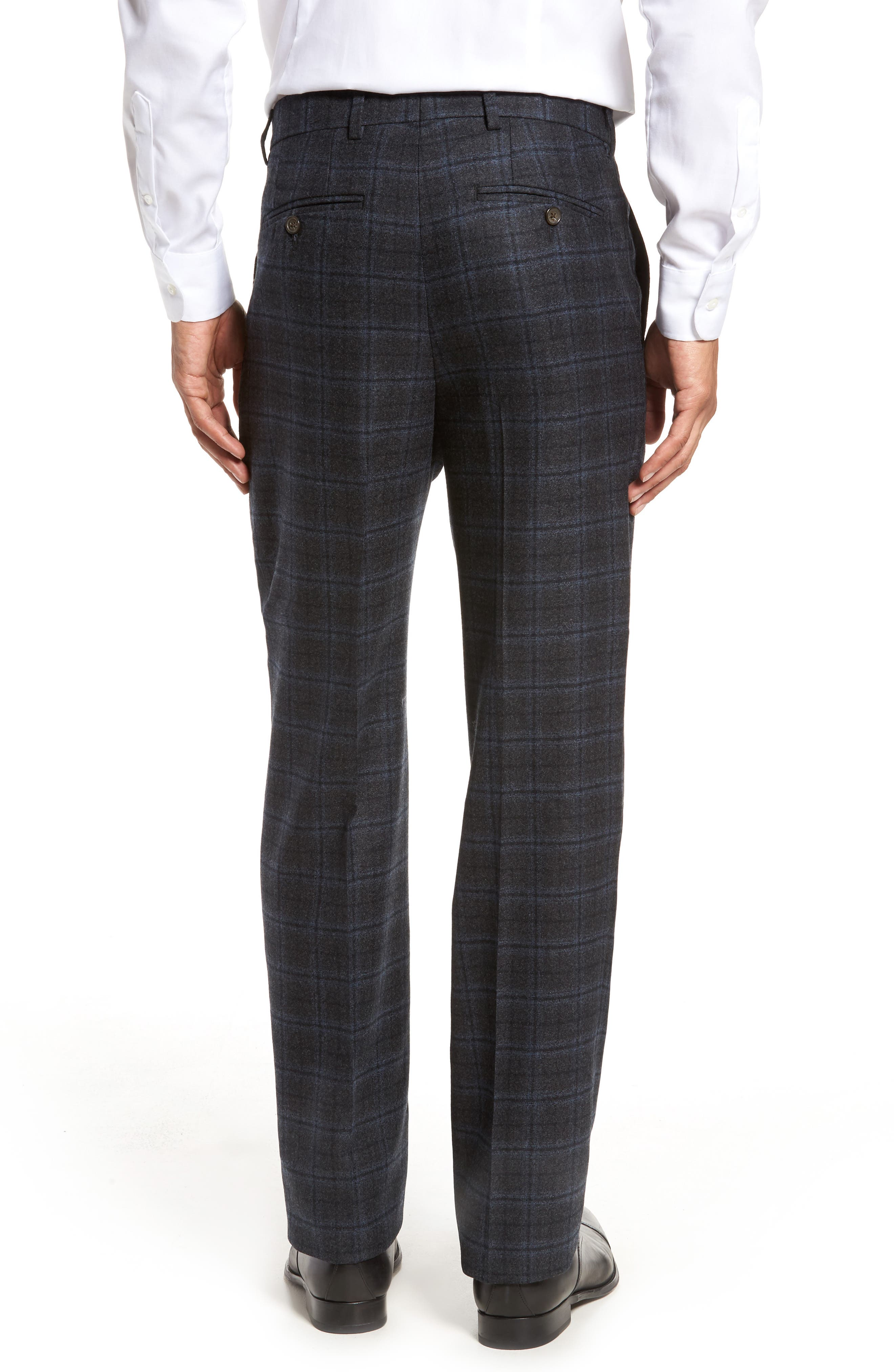 Flat Front Windowpane Wool Trousers,                             Alternate thumbnail 3, color,