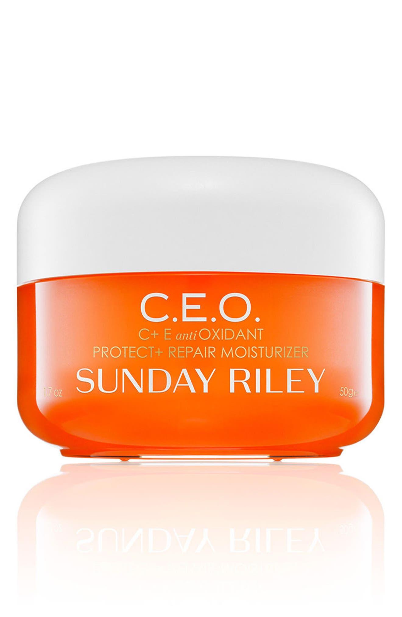 SPACE.NK.apothecary Sunday Riley C.E.O. C + E Antioxidant Protect & Repair Moisturizer,                             Main thumbnail 1, color,                             NO COLOR