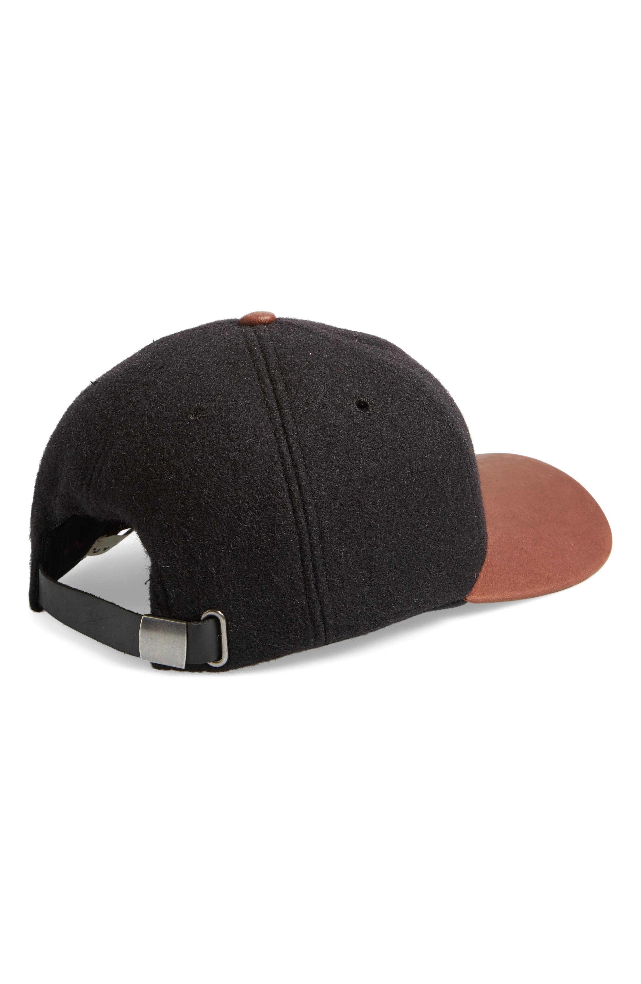 Melton Wool Blend Baseball Cap,                             Alternate thumbnail 2, color,                             001