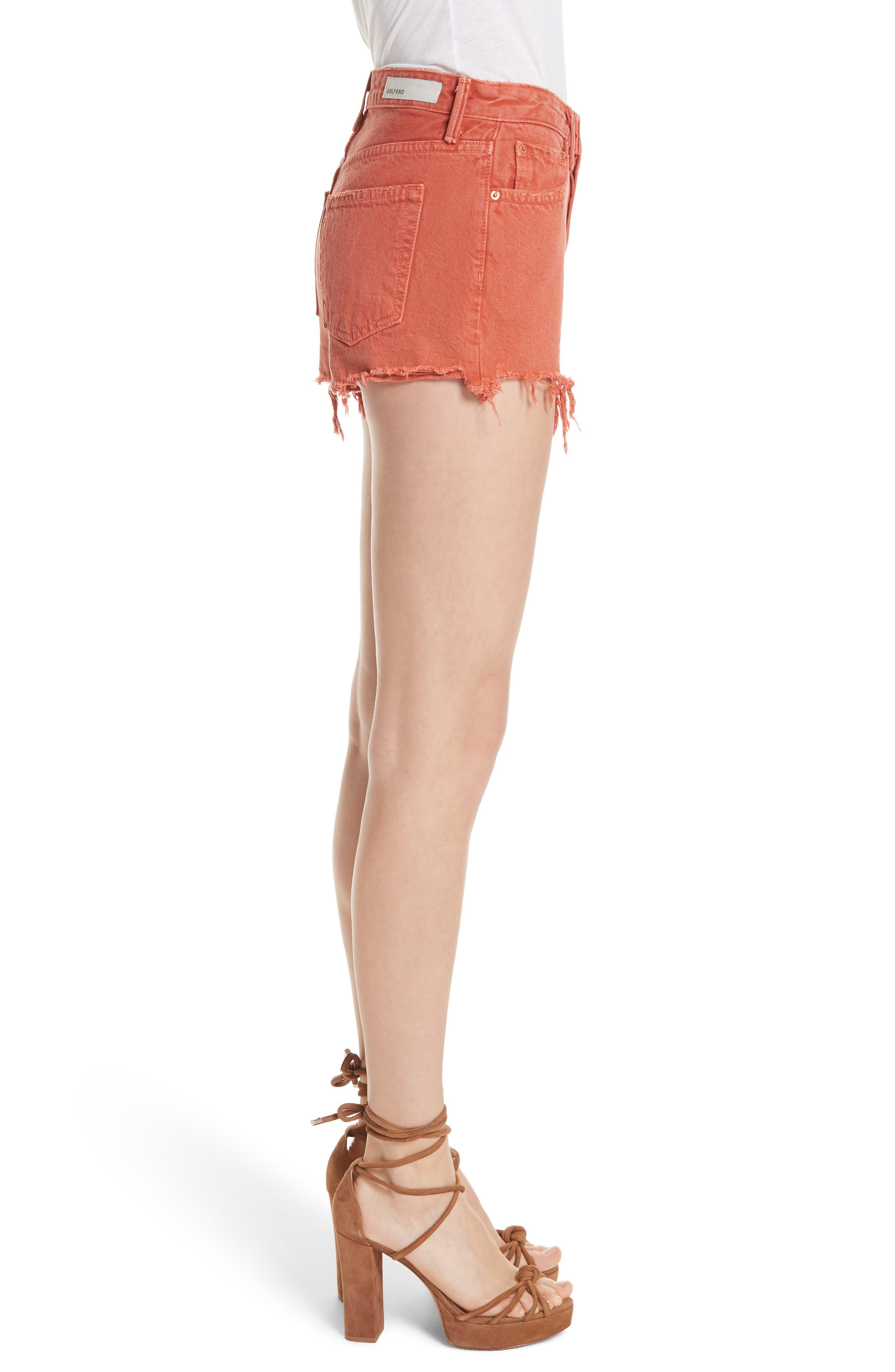 Cindy Rigid High Waist Denim Shorts,                             Alternate thumbnail 3, color,                             SPICE MARKET
