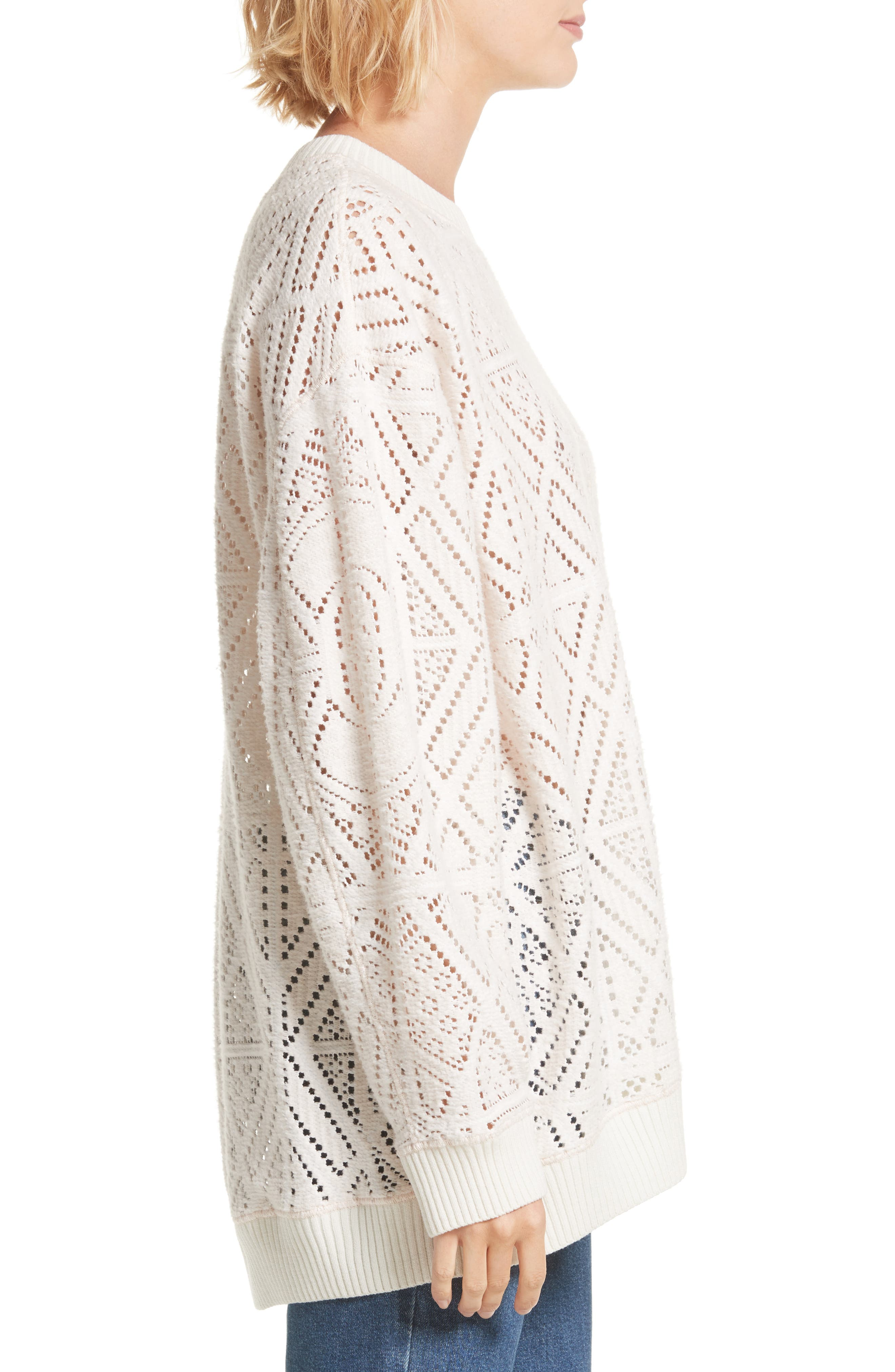 Lace Knit Sweater,                             Alternate thumbnail 3, color,                             901