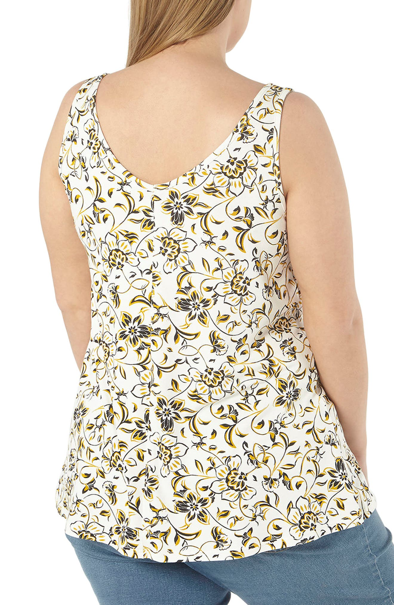 Floral Print Jersey Tank,                             Alternate thumbnail 2, color,                             110