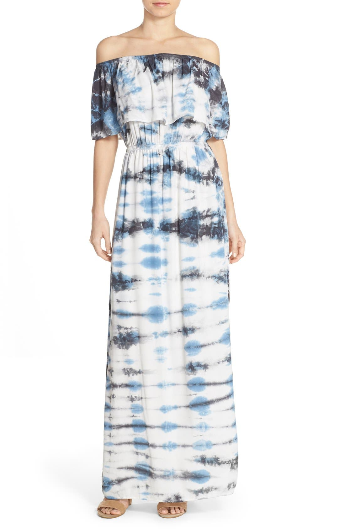 Tie Dye Off Shoulder Maxi Dress,                             Main thumbnail 4, color,