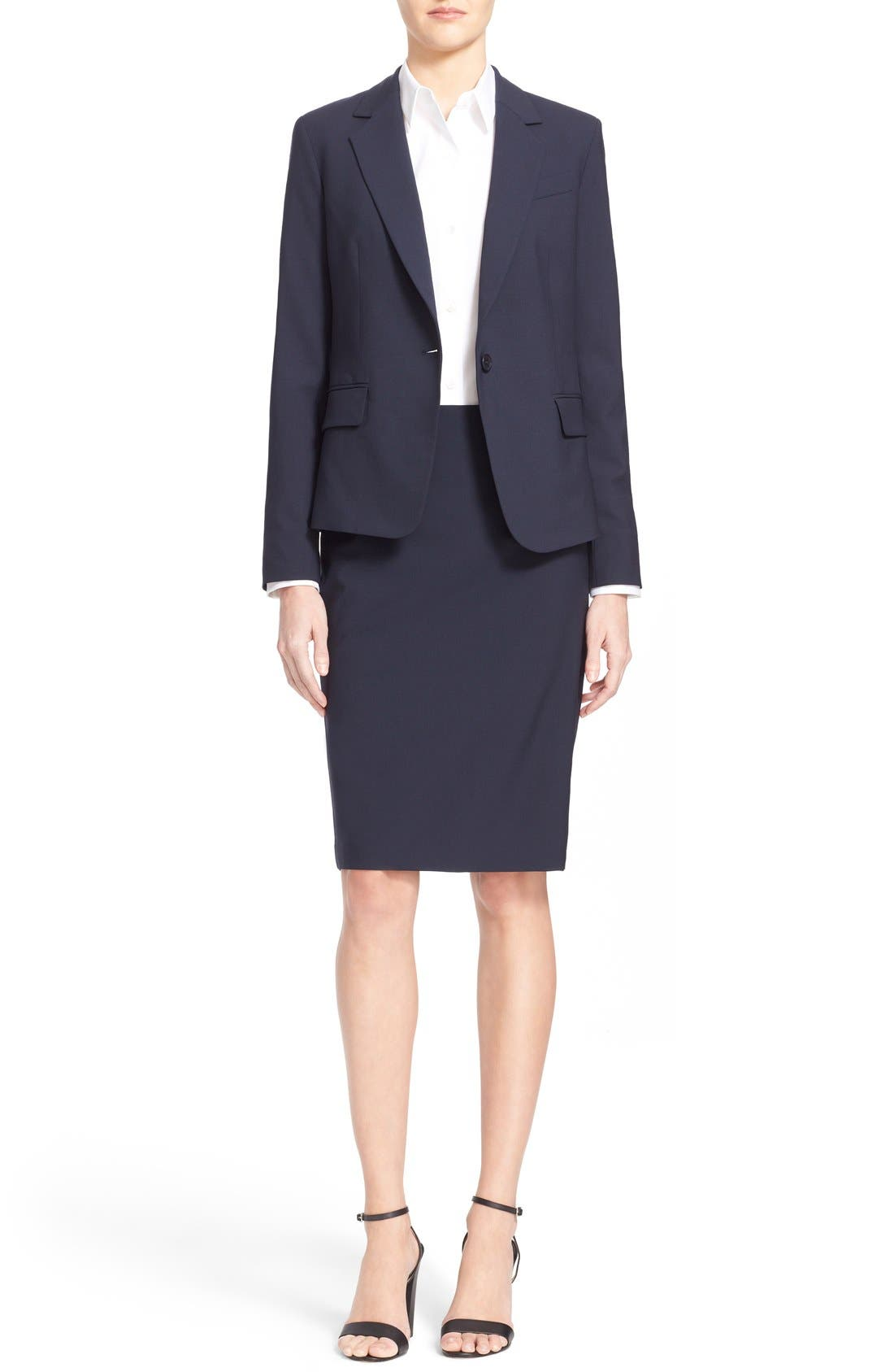 THEORY,                             Stretch Wool Pencil Skirt,                             Alternate thumbnail 2, color,                             491