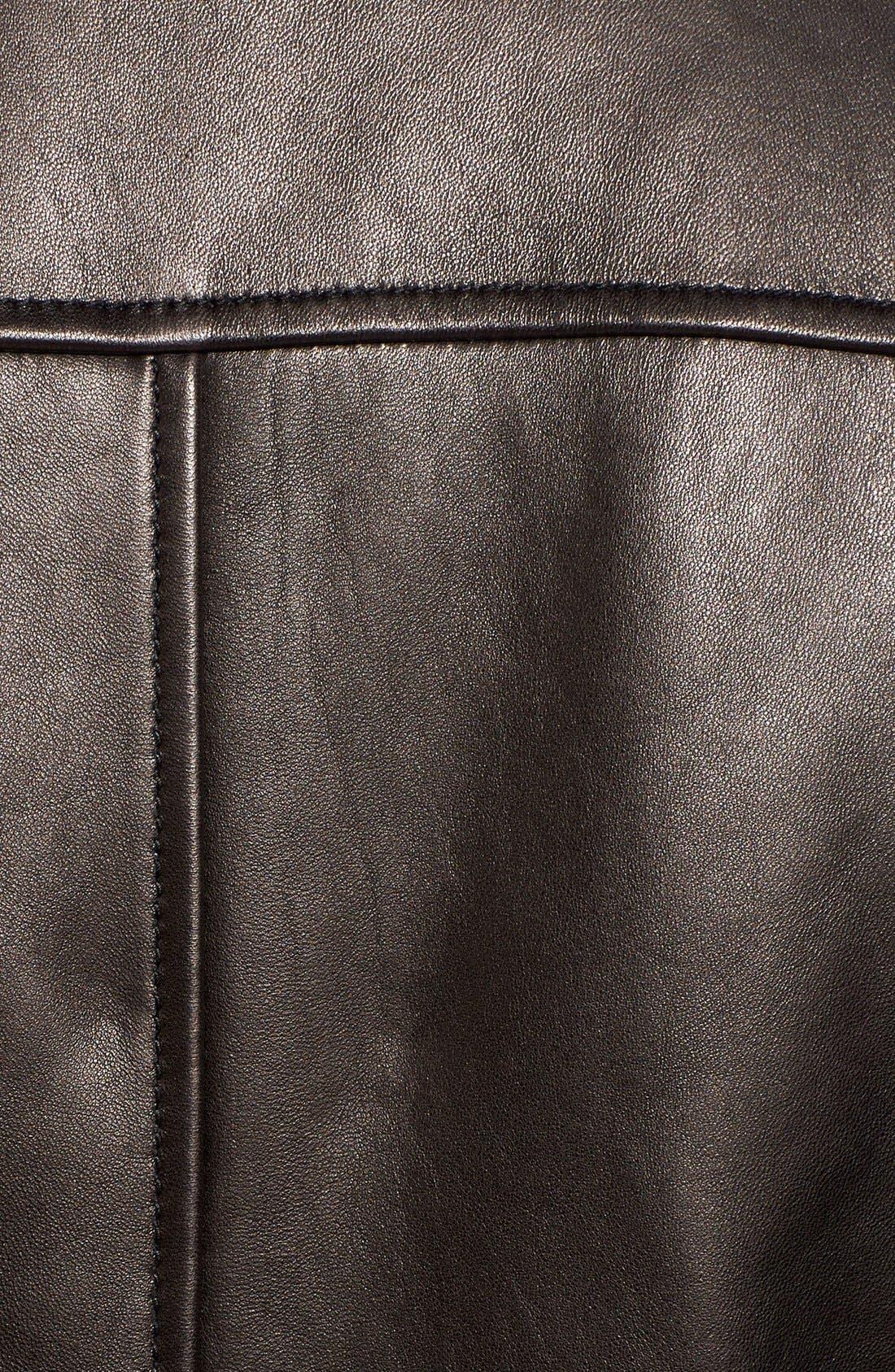 Lambskin Leather Moto Jacket,                             Alternate thumbnail 4, color,                             001