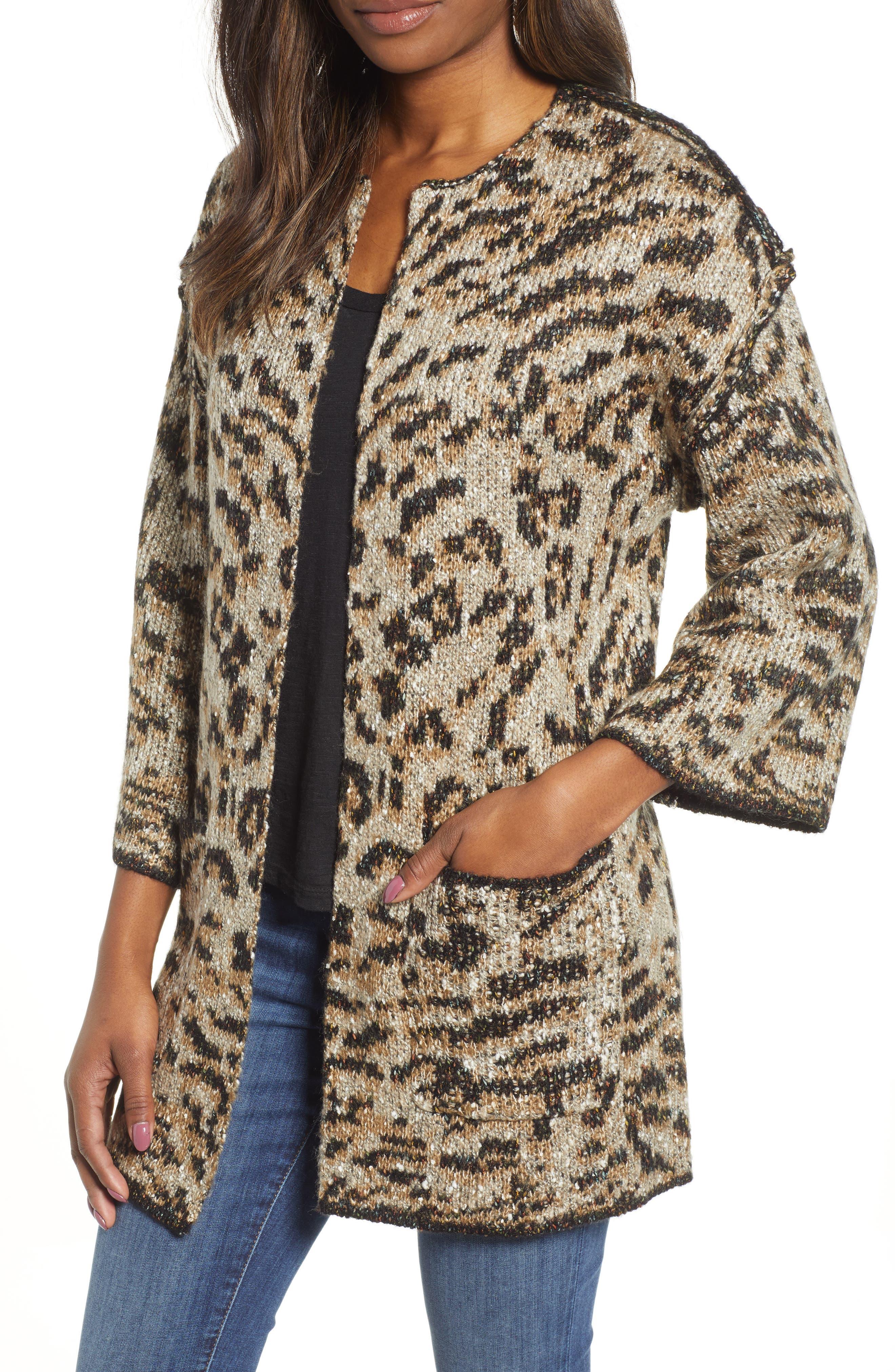 WIT & WISDOM,                             Reversible Tiger Jacquard Sweater Jacket,                             Main thumbnail 1, color,                             TAUPE