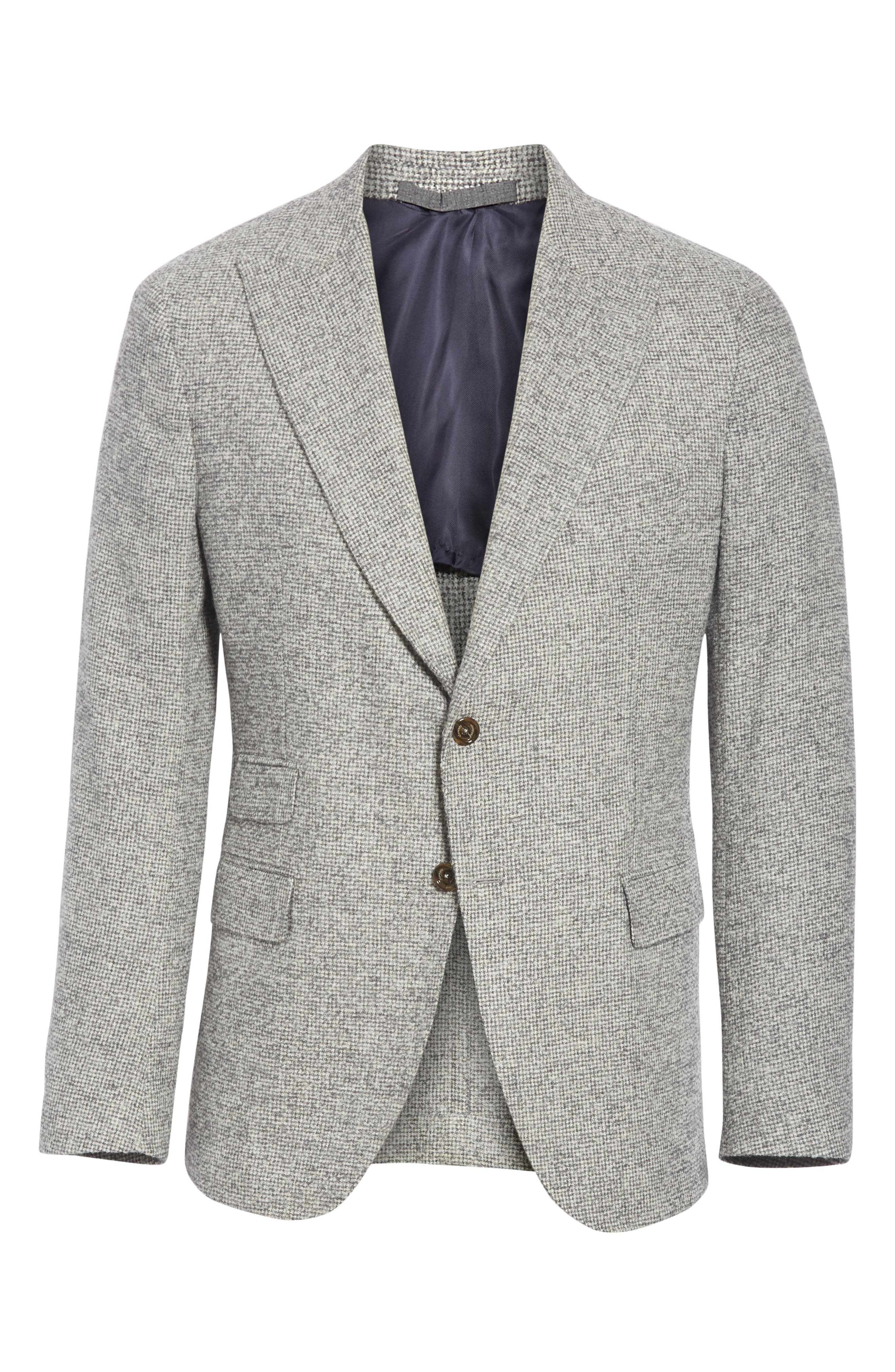Trim Fit Houndstooth Alpaca Wool Blend Sport Coat,                             Alternate thumbnail 5, color,                             GREY