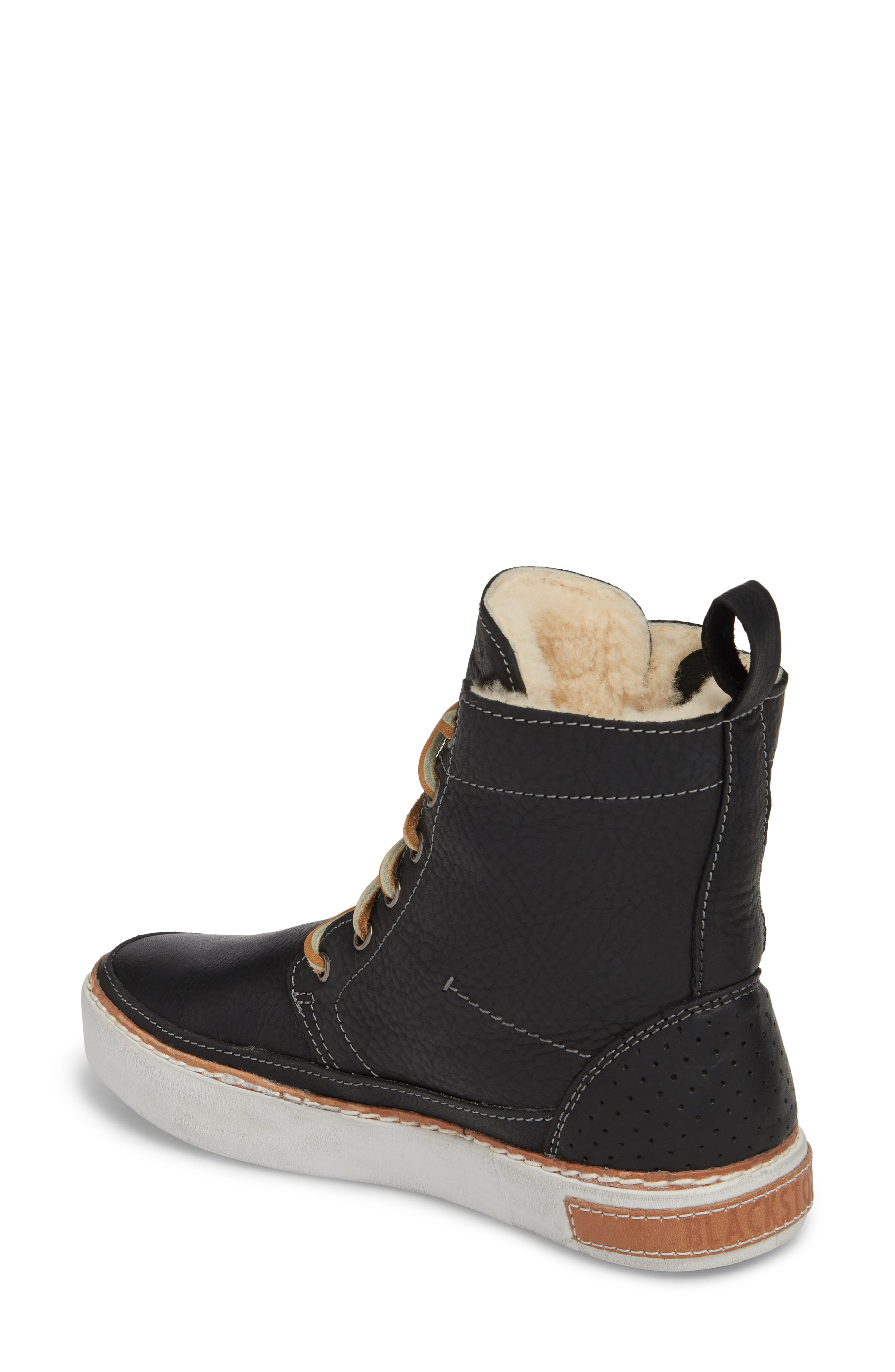 'CW96' Genuine Shearling Lined Sneaker Boot,                             Alternate thumbnail 2, color,                             BLACK LEATHER