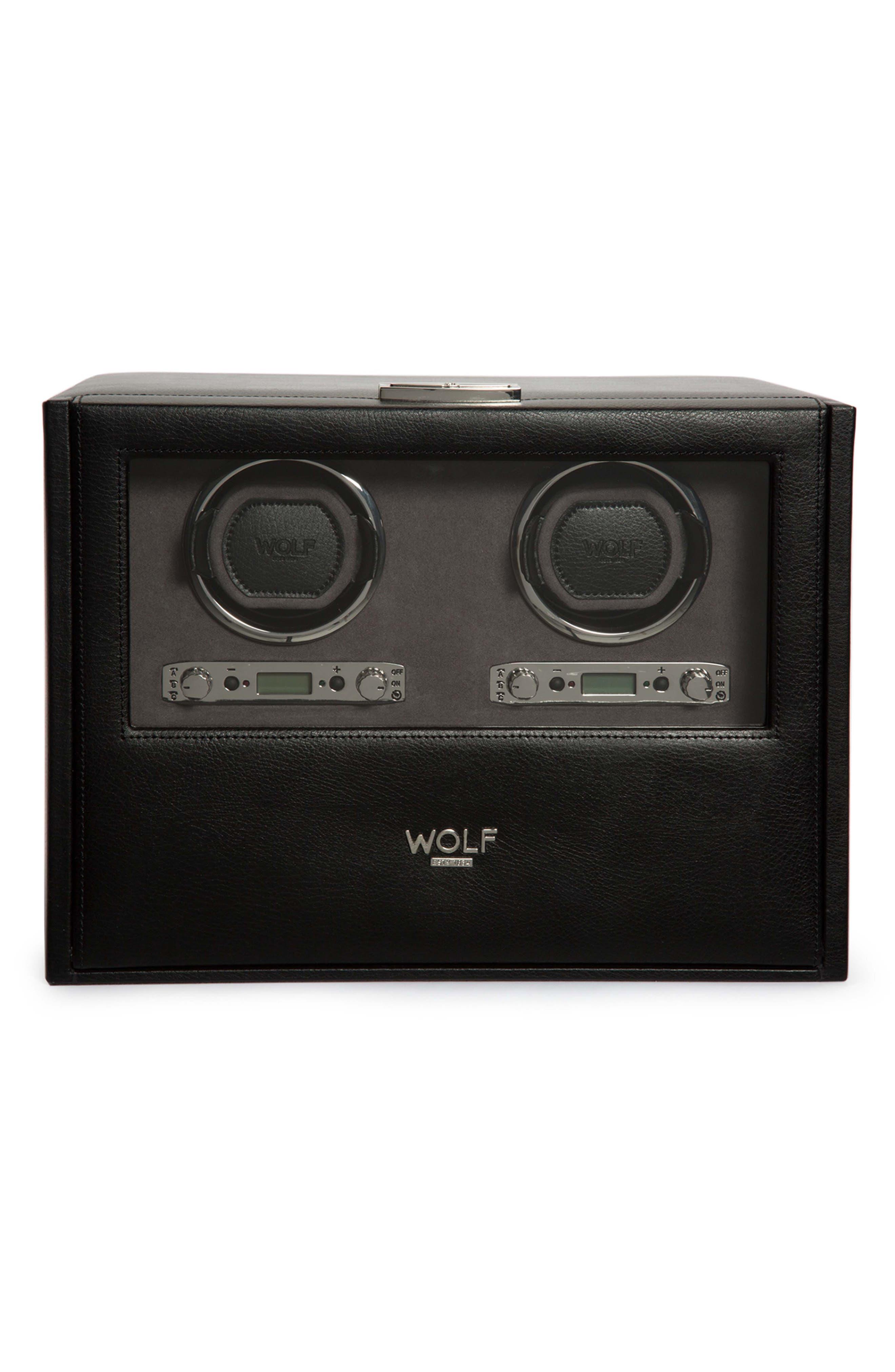 Blake Double Watch Winder Box,                             Main thumbnail 1, color,                             BLACK