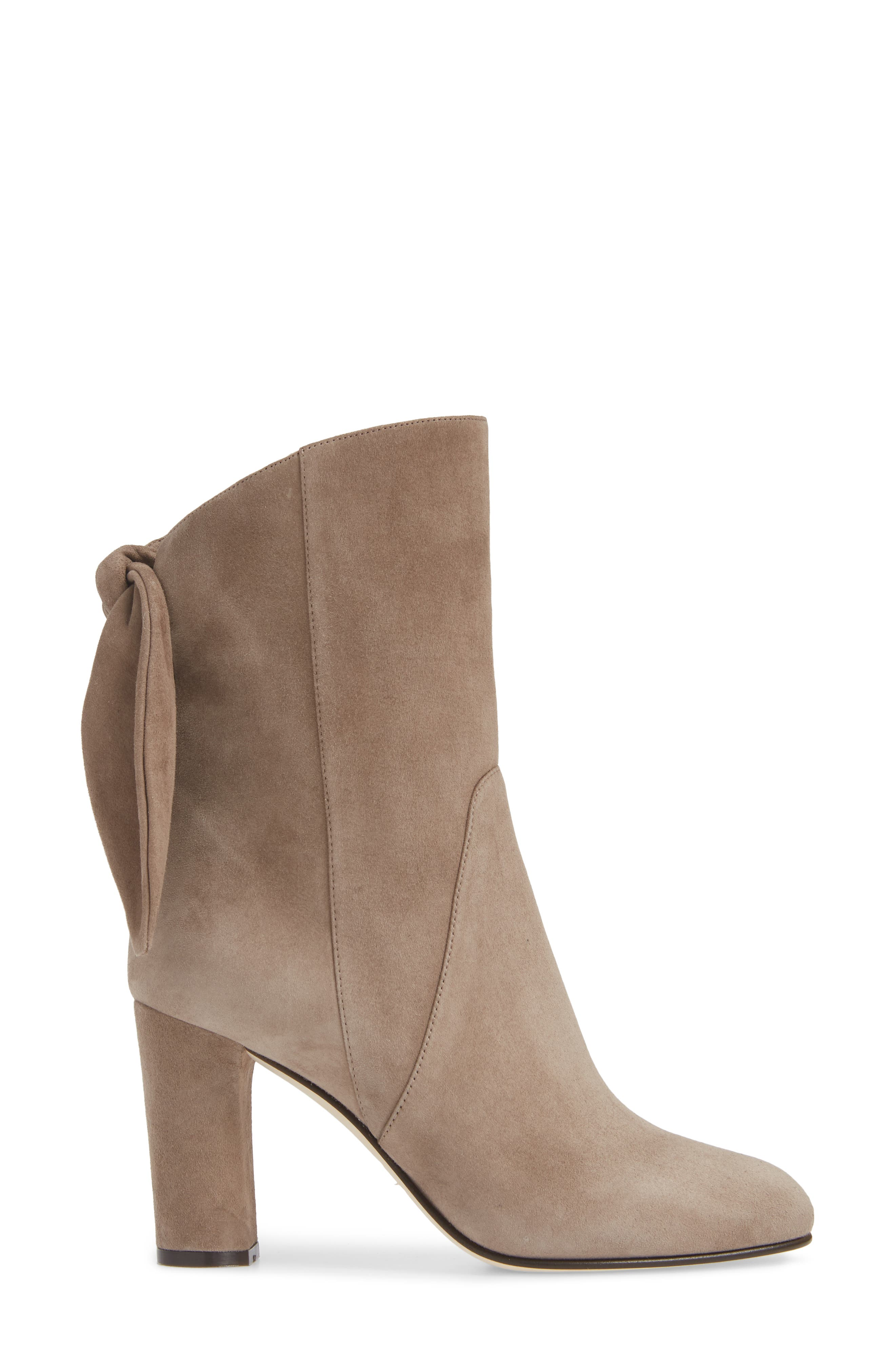 Malene Knotted Bootie,                             Alternate thumbnail 3, color,                             STONE SUEDE