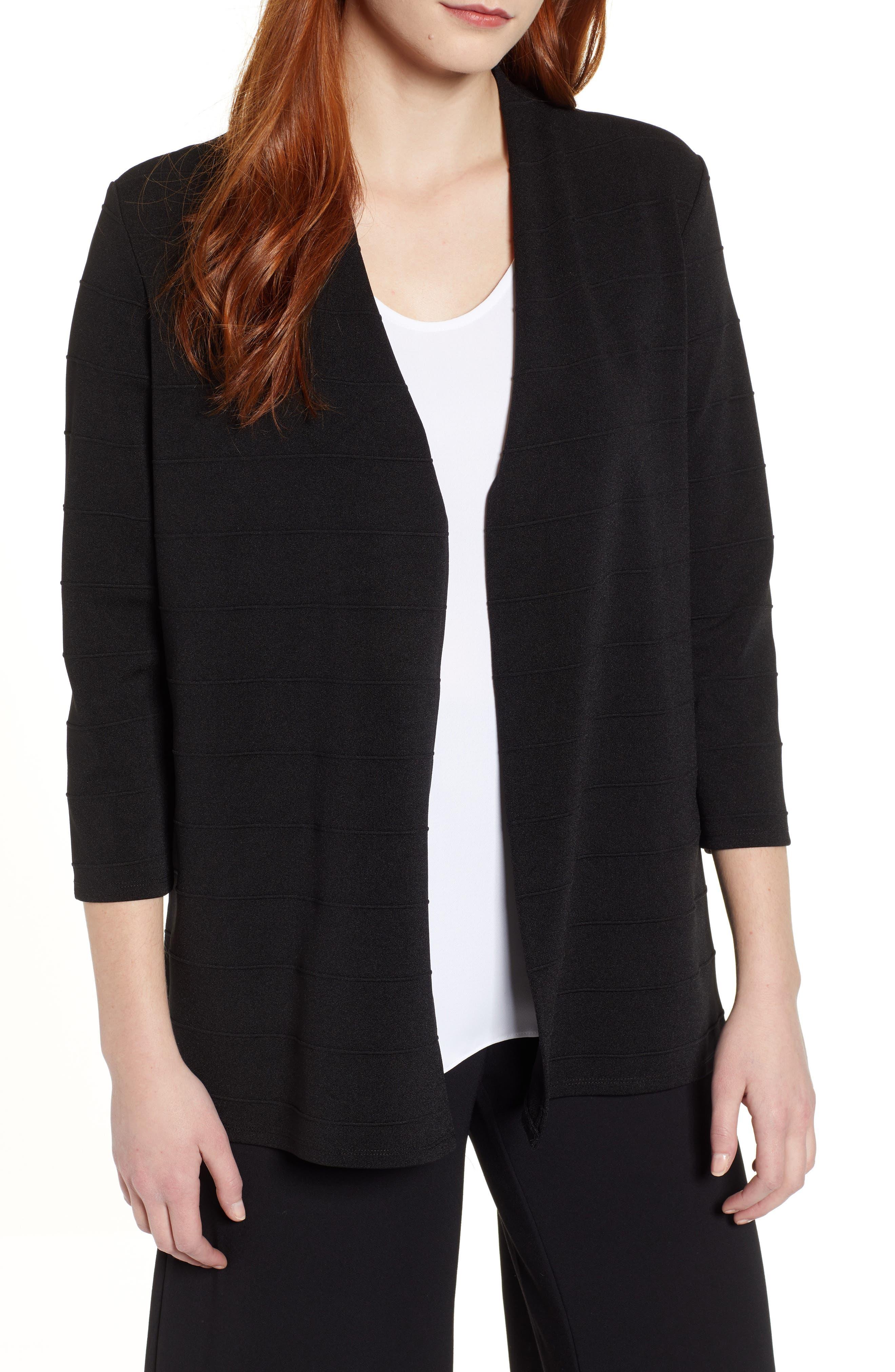 Chaus Textured Stripe Cardigan, Black