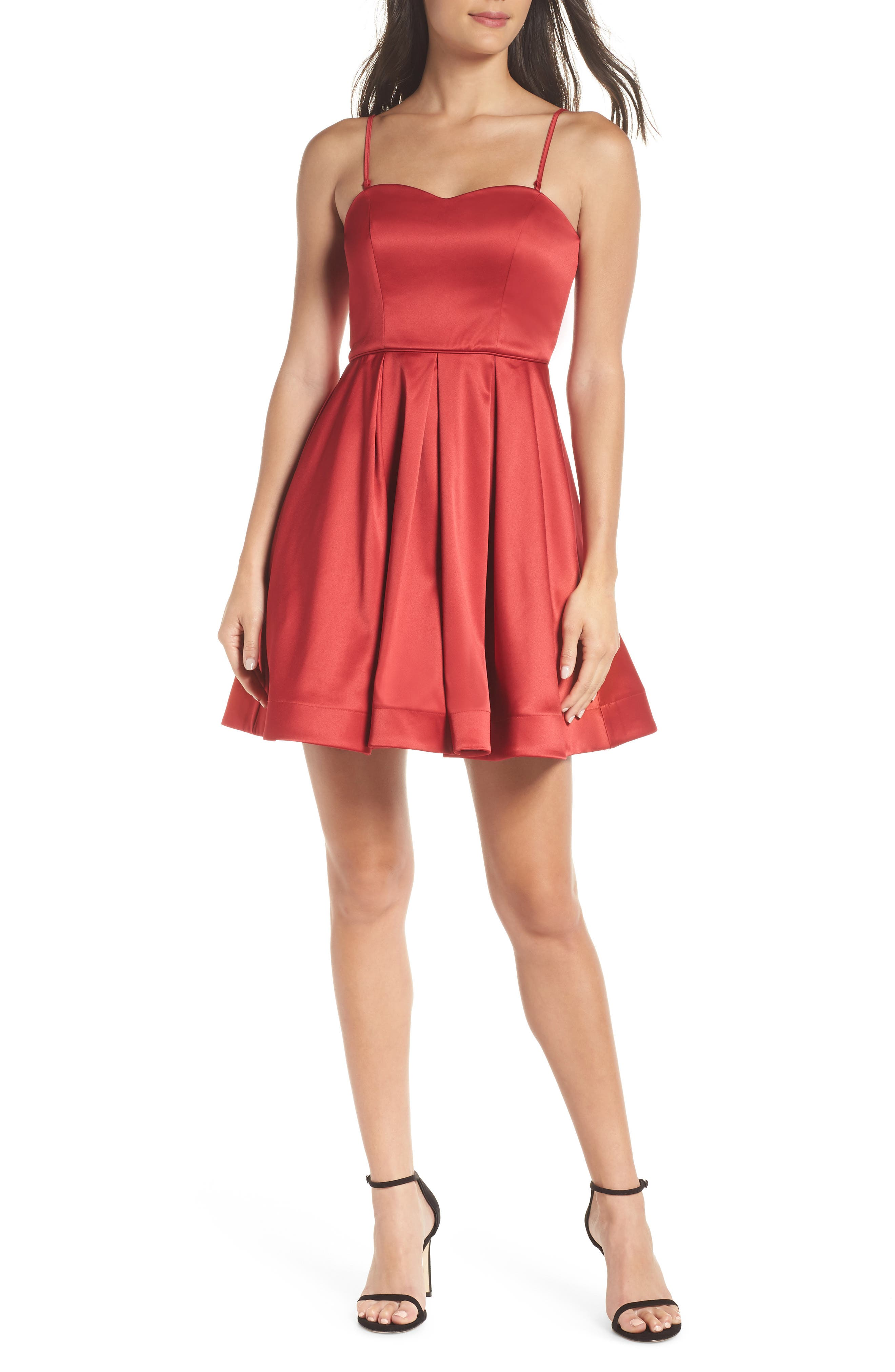 Satin Removable Strap Party Dress,                             Alternate thumbnail 3, color,                             RED