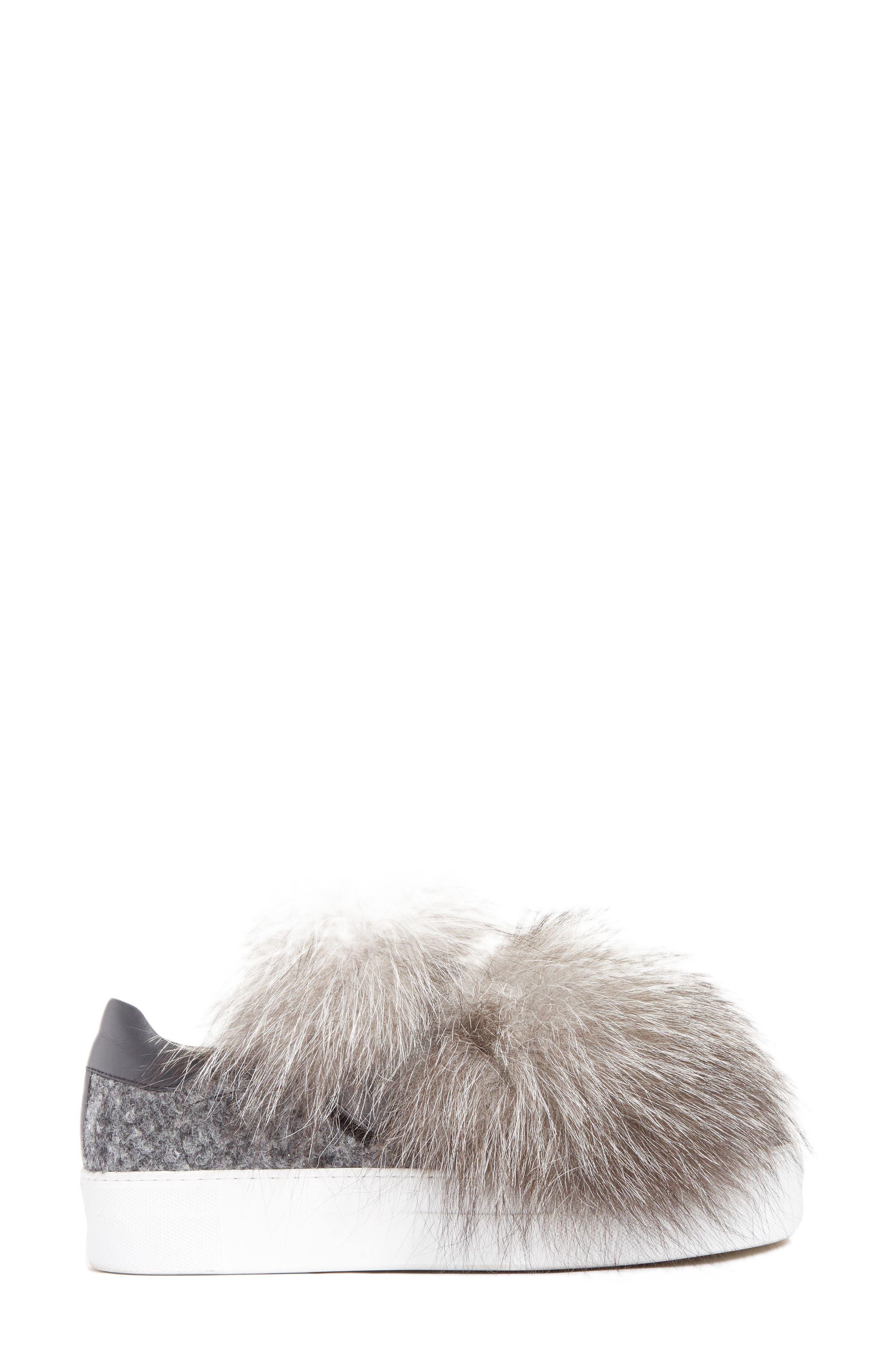 Victoire Genuine Fox Fur Slip-On Sneaker,                             Alternate thumbnail 3, color,                             020