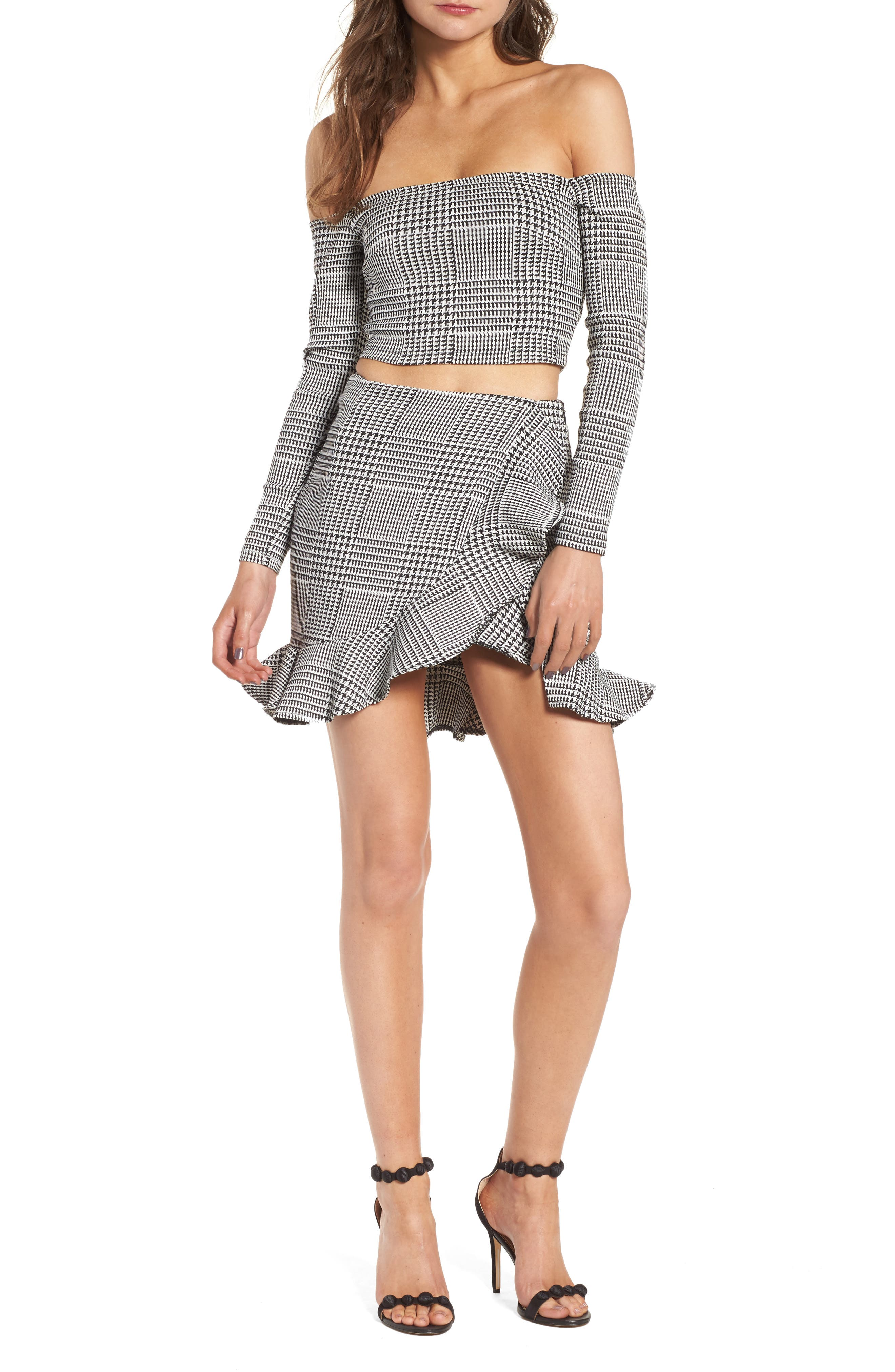 Affection Ruffle Houndstooth Skirt,                             Alternate thumbnail 7, color,                             020