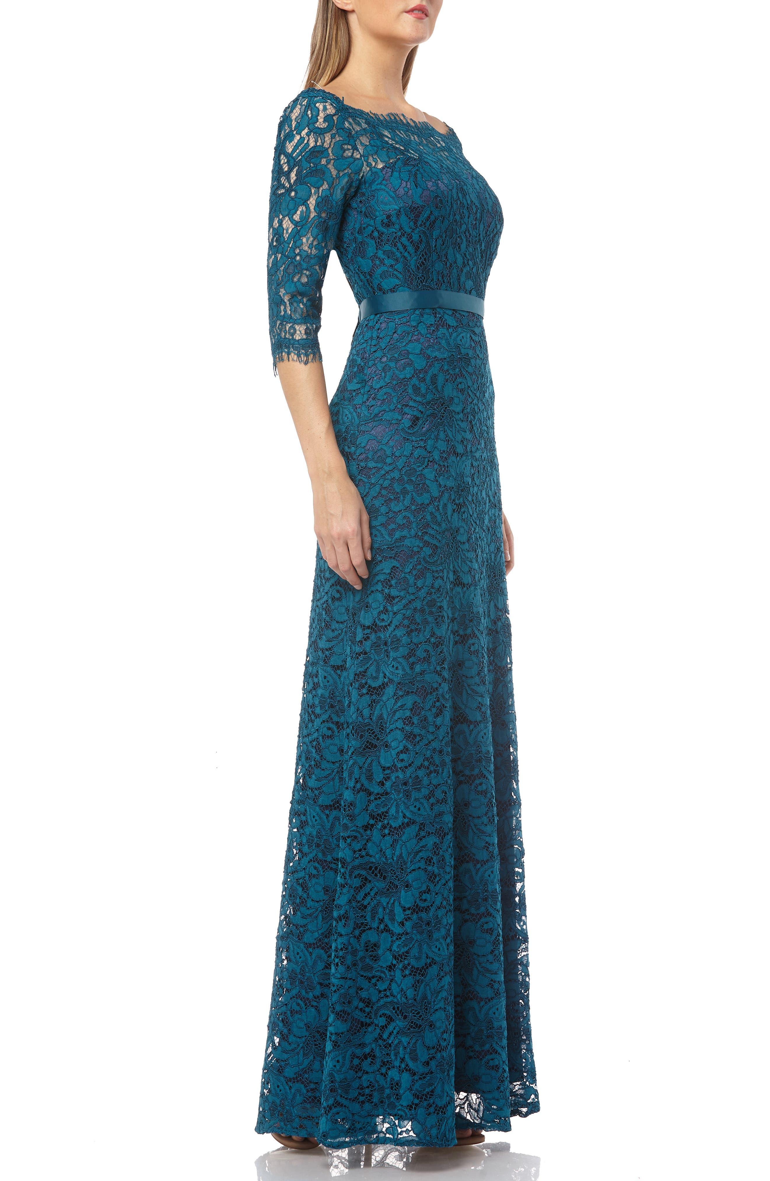 JS COLLECTIONS,                             Bateau Neck Lace Gown,                             Alternate thumbnail 3, color,                             TURQOISE NAVY