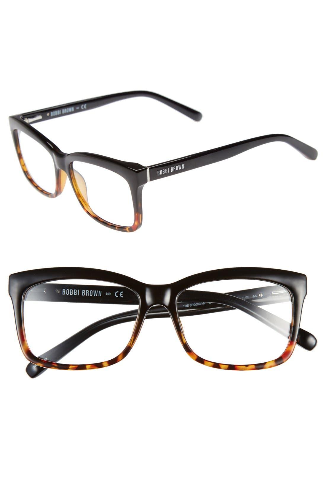 The Brooklyn 53mm Reading Glasses,                             Main thumbnail 1, color,                             TORTOISE/ BLACK