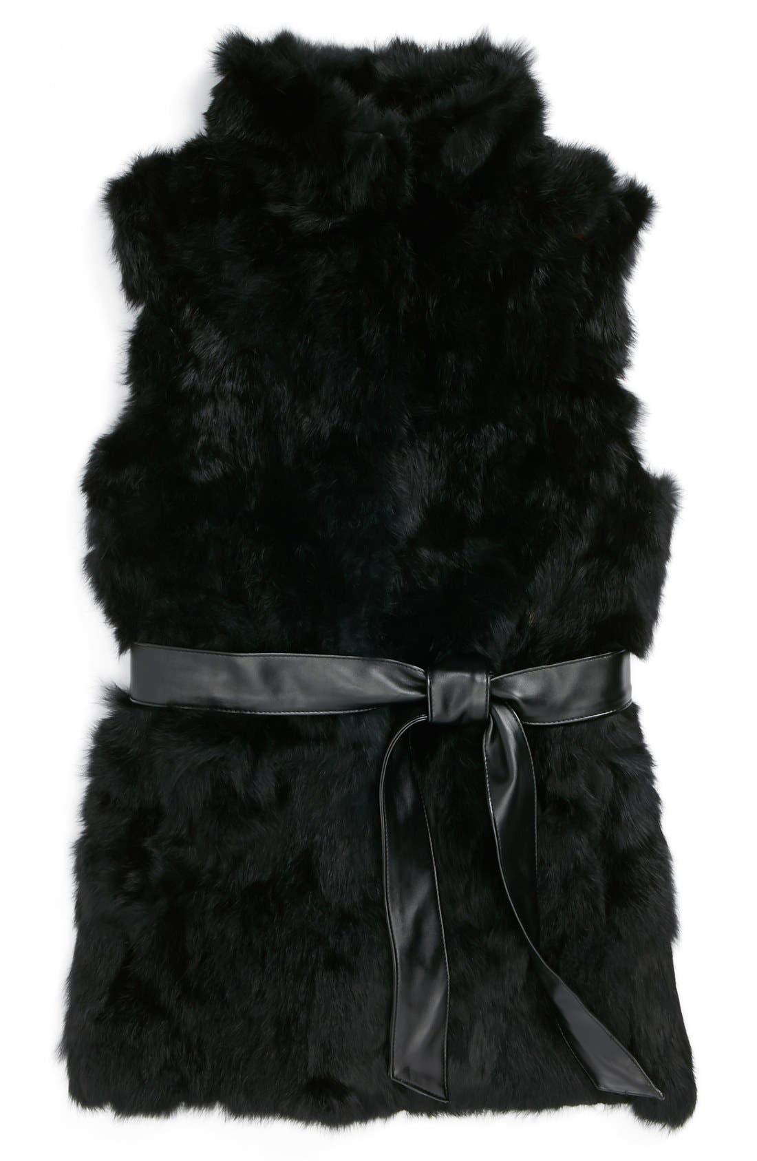 LA FIORENTINA,                             Genuine Rabbit Fur Vest,                             Main thumbnail 1, color,                             001
