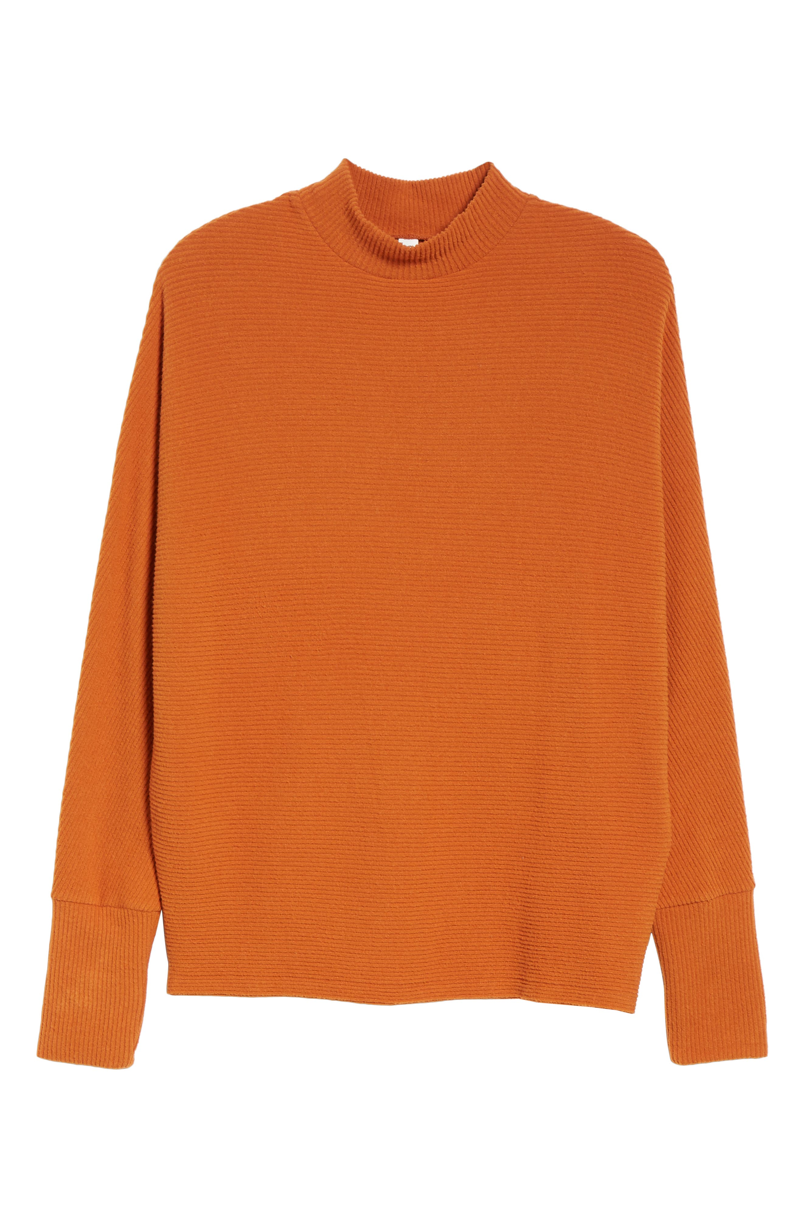 Dolman Sleeve Ribbed Top,                             Alternate thumbnail 7, color,                             RUST CIDER