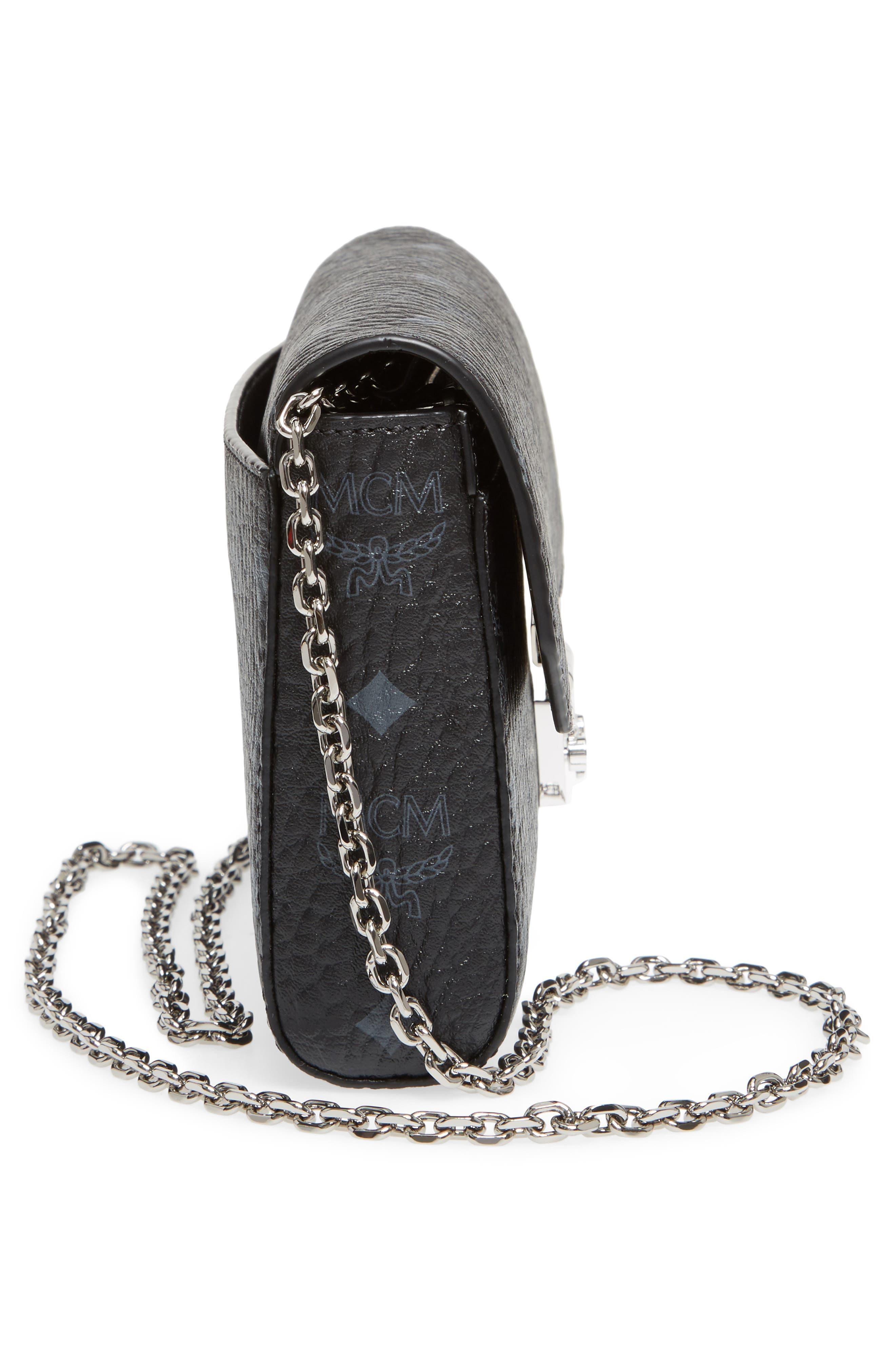 Millie Monogrammed Leather Crossbody Bag,                             Alternate thumbnail 5, color,                             001