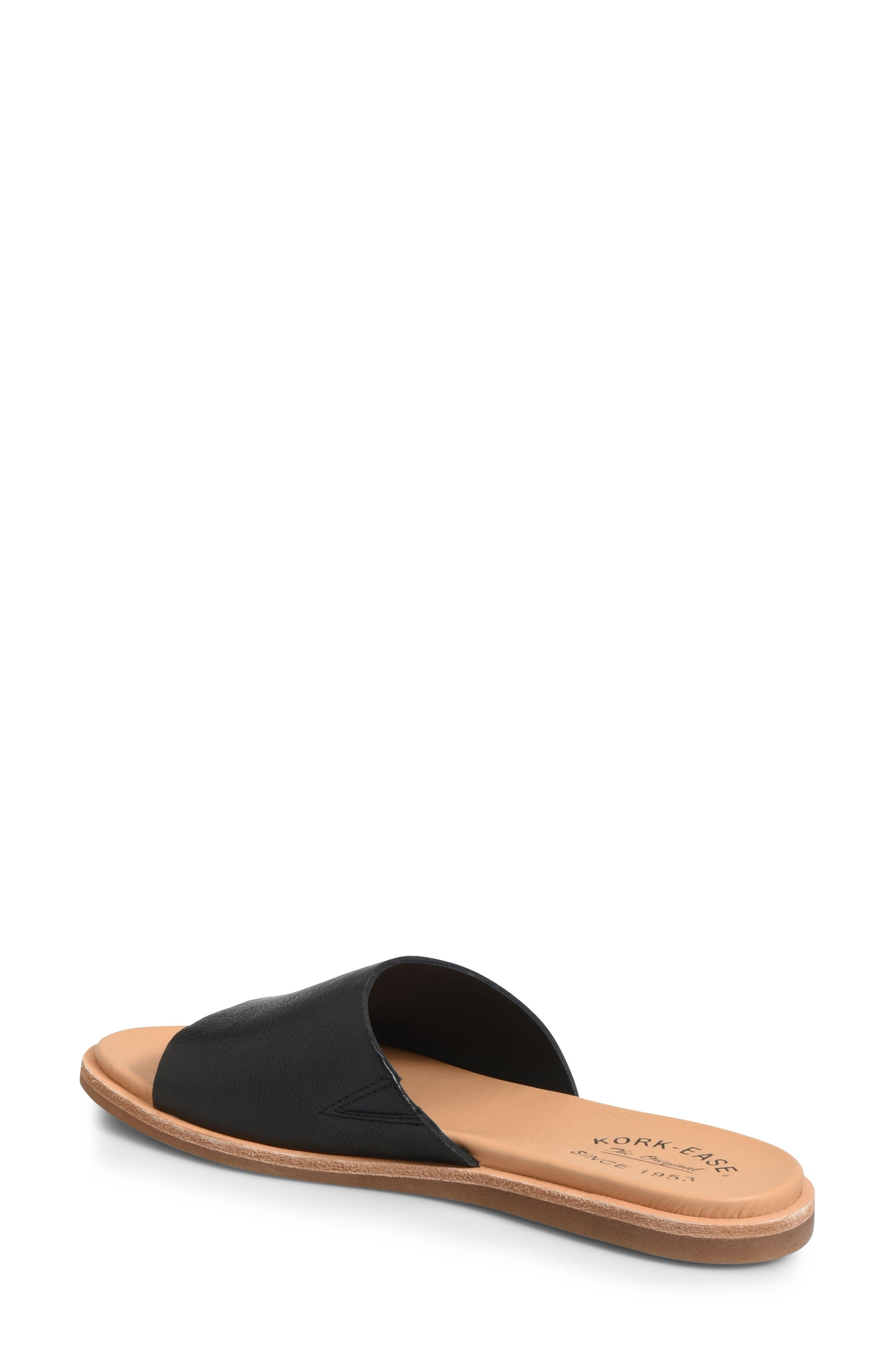 Gila Slide Sandal,                             Alternate thumbnail 2, color,                             BLACK LEATHER