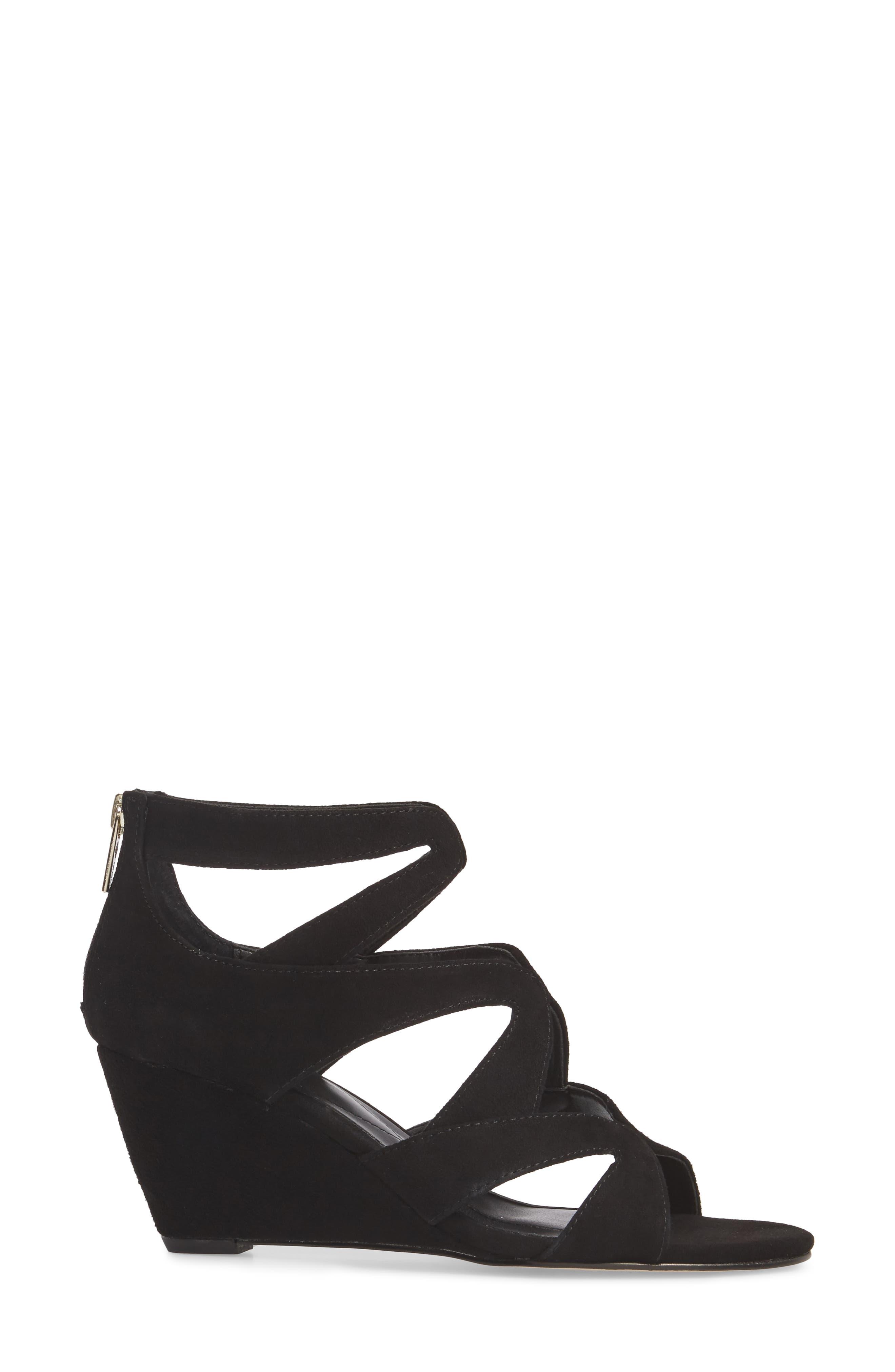 Filisha Wedge Sandal,                             Alternate thumbnail 3, color,                             BLACK SUEDE